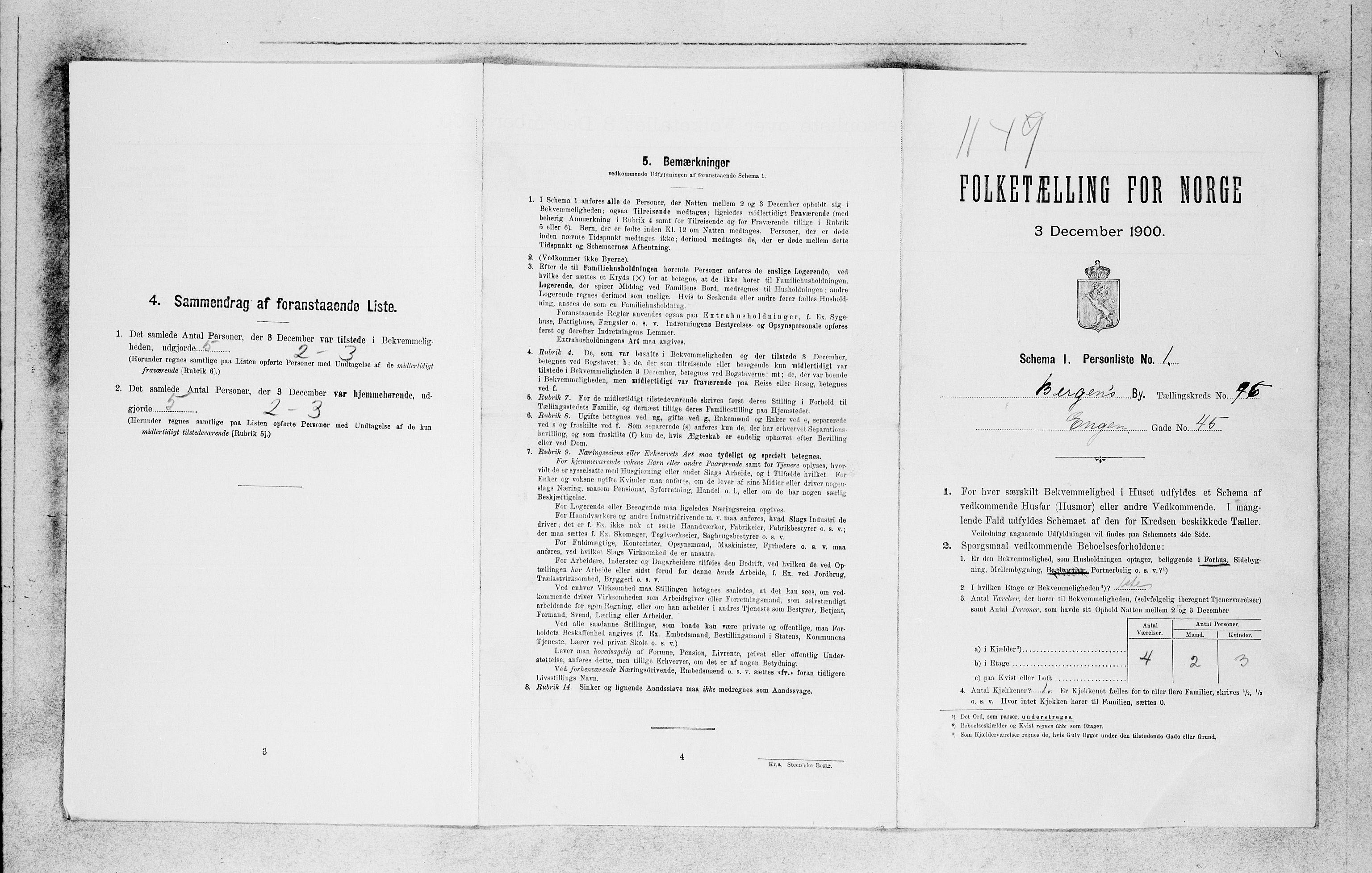SAB, Folketelling 1900 for 1301 Bergen kjøpstad, 1900, s. 20500