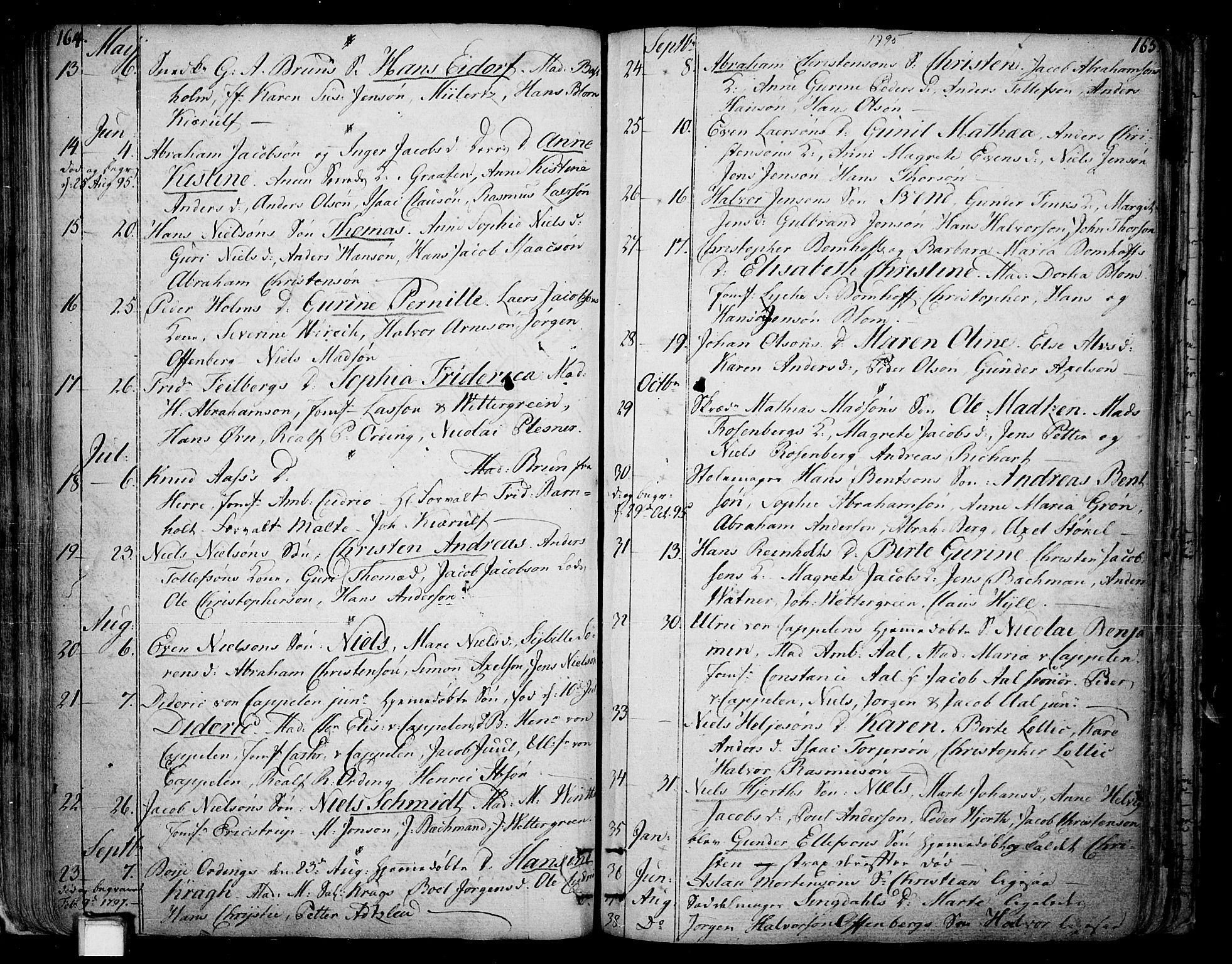 SAKO, Skien kirkebøker, F/Fa/L0004: Ministerialbok nr. 4, 1792-1814, s. 164-165