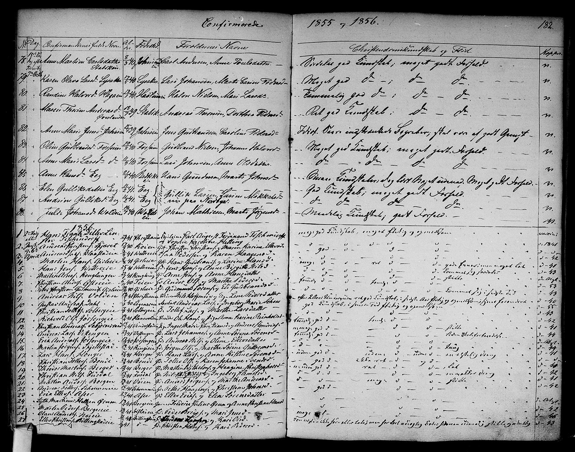 SAO, Asker prestekontor Kirkebøker, F/Fa/L0009: Ministerialbok nr. I 9, 1825-1878, s. 182