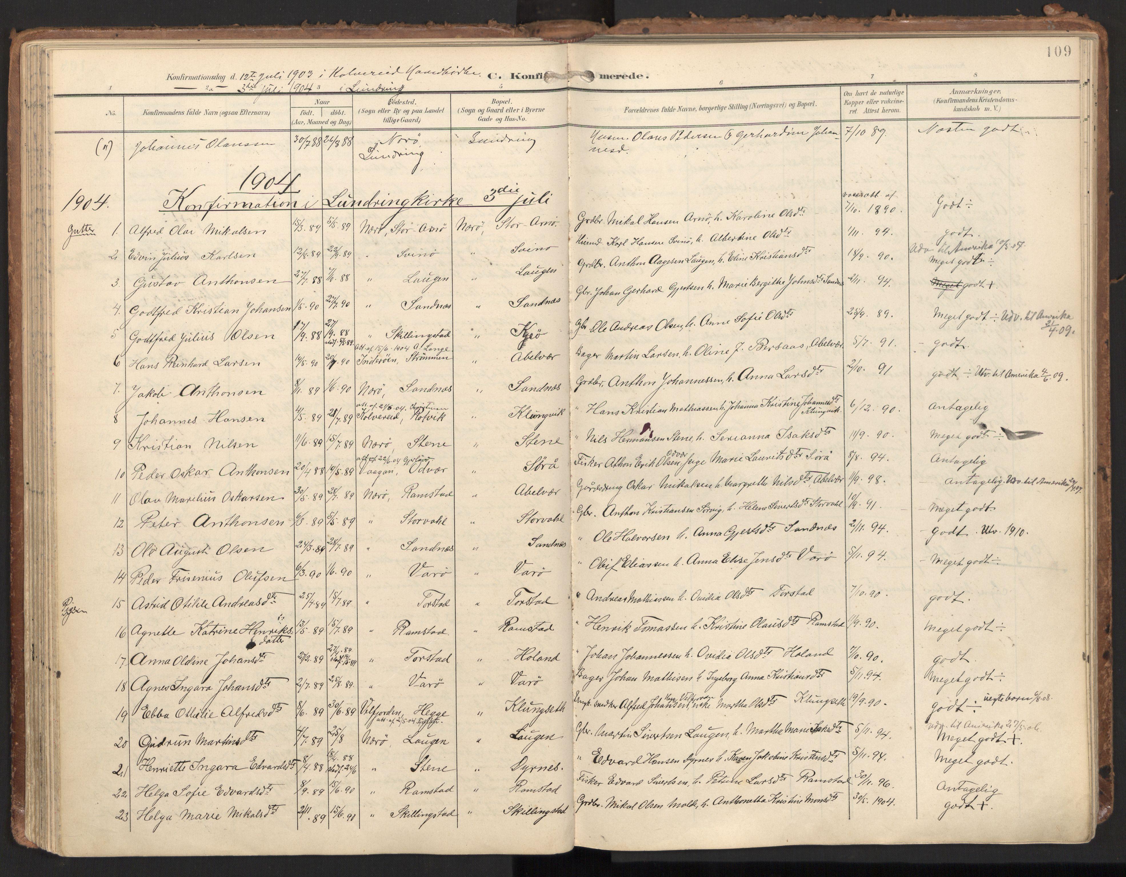 SAT, Ministerialprotokoller, klokkerbøker og fødselsregistre - Nord-Trøndelag, 784/L0677: Ministerialbok nr. 784A12, 1900-1920, s. 109