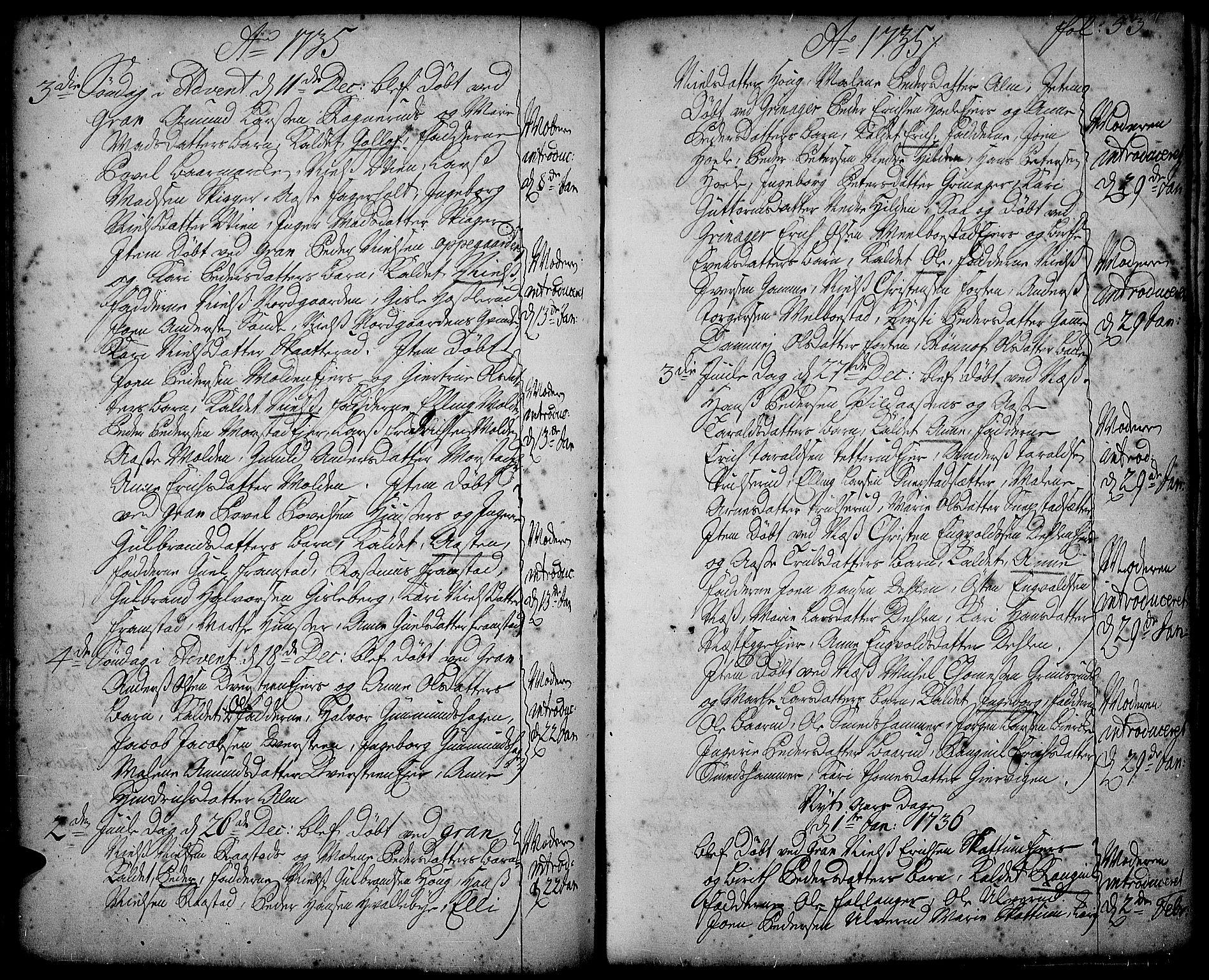 SAH, Gran prestekontor, Ministerialbok nr. 2, 1732-1744, s. 53