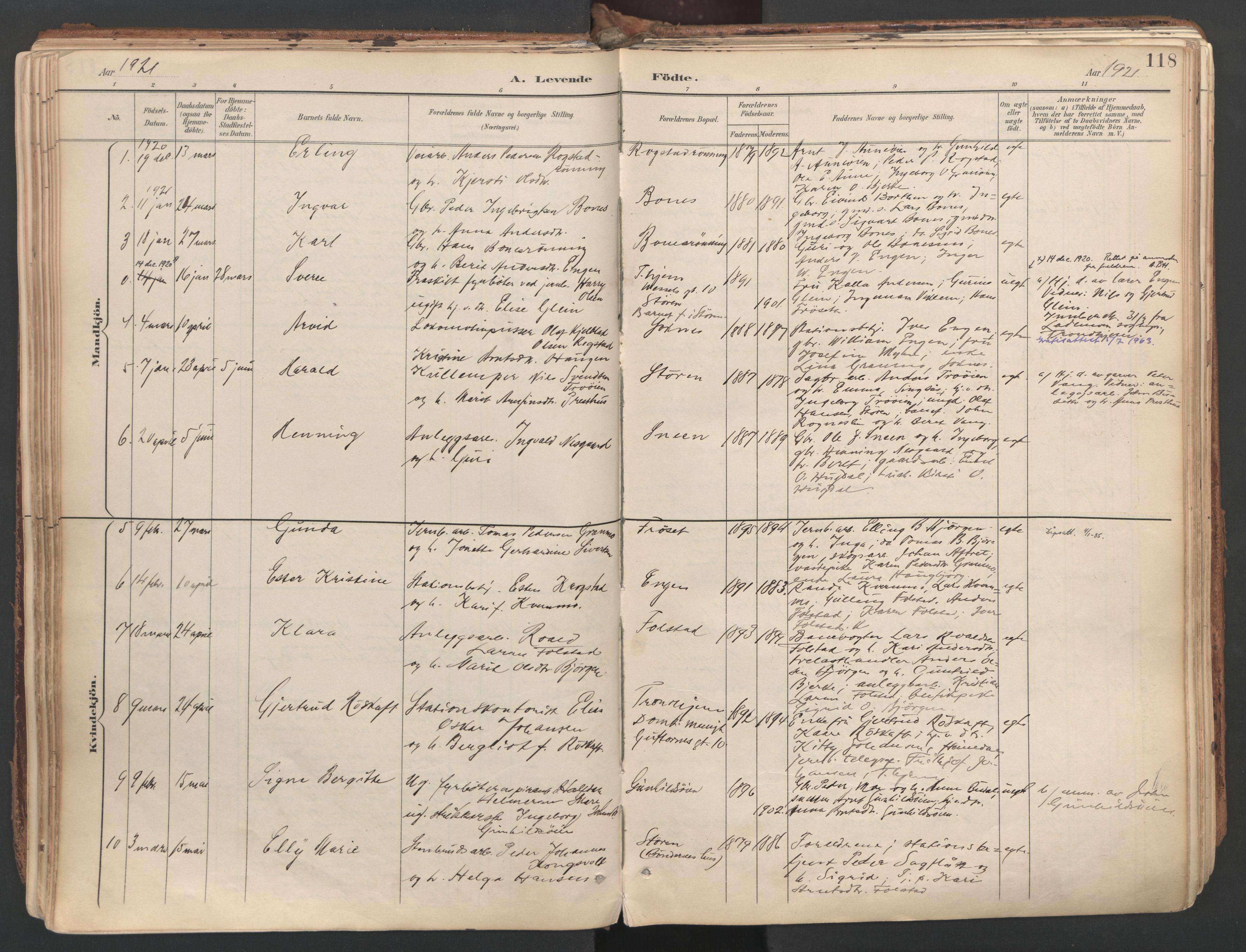 SAT, Ministerialprotokoller, klokkerbøker og fødselsregistre - Sør-Trøndelag, 687/L1004: Ministerialbok nr. 687A10, 1891-1923, s. 118