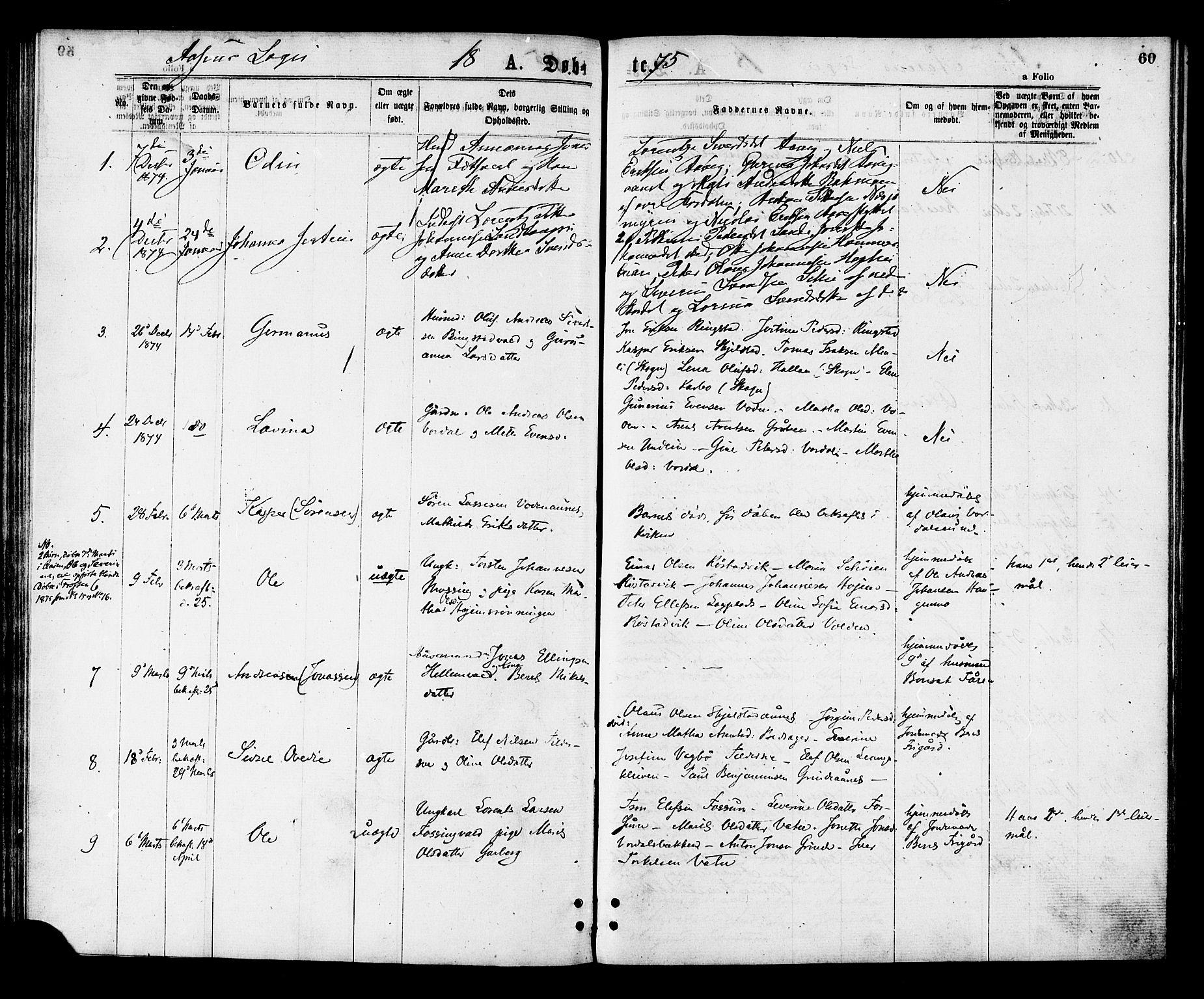SAT, Ministerialprotokoller, klokkerbøker og fødselsregistre - Nord-Trøndelag, 713/L0118: Ministerialbok nr. 713A08 /2, 1875-1877, s. 60