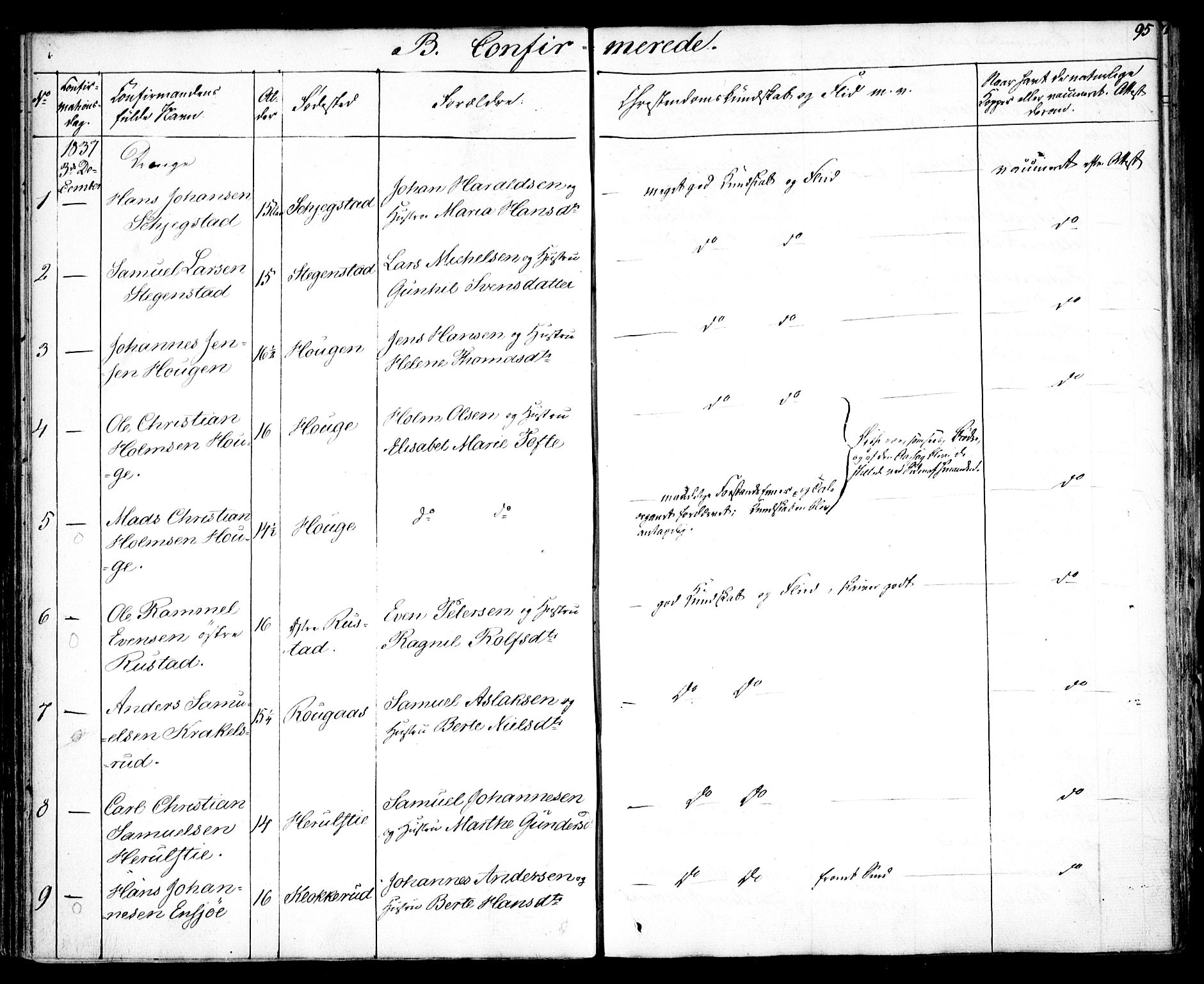 SAO, Kråkstad prestekontor Kirkebøker, F/Fa/L0005: Ministerialbok nr. I 5, 1837-1847, s. 95