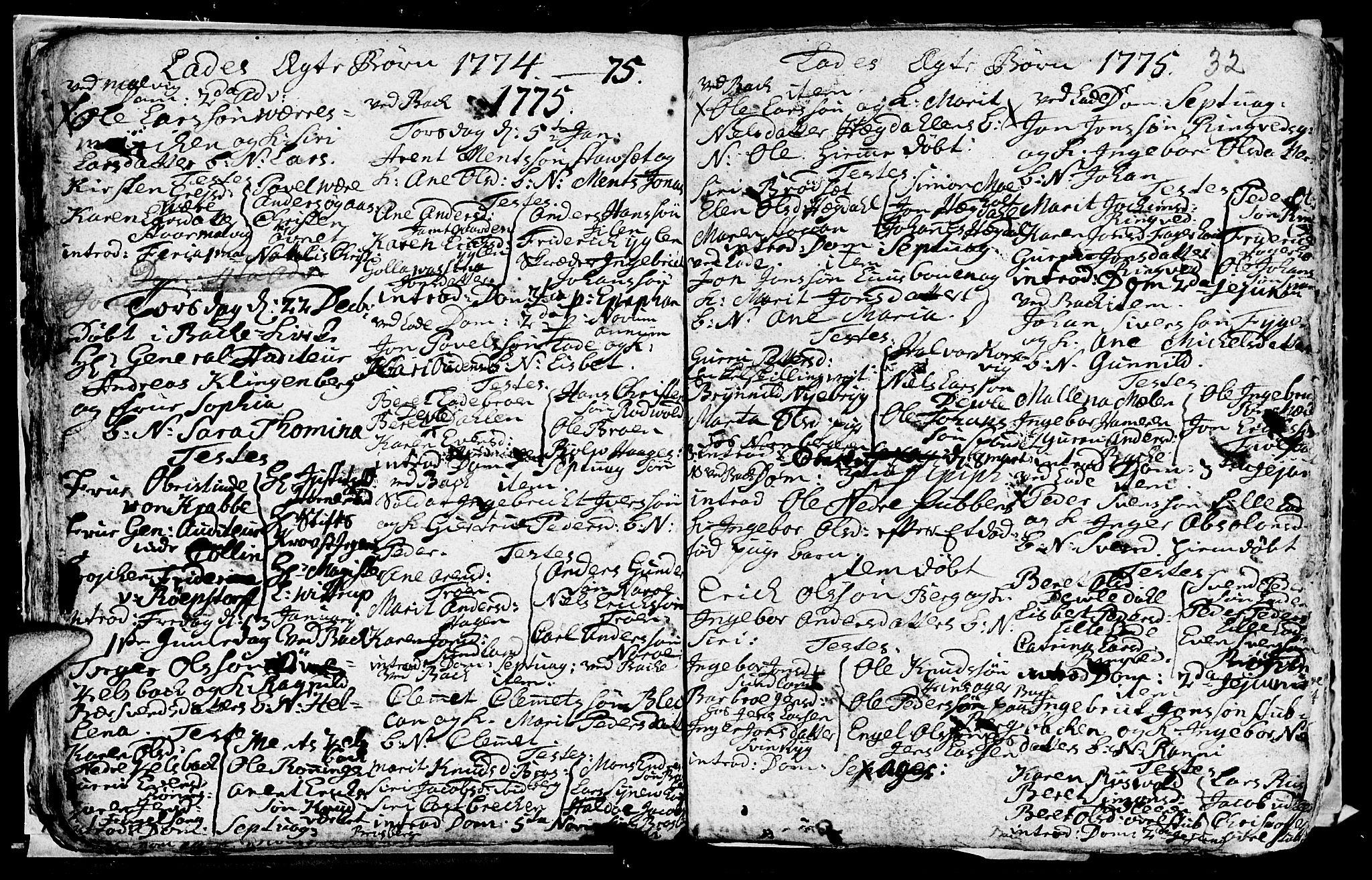 SAT, Ministerialprotokoller, klokkerbøker og fødselsregistre - Sør-Trøndelag, 606/L0305: Klokkerbok nr. 606C01, 1757-1819, s. 32