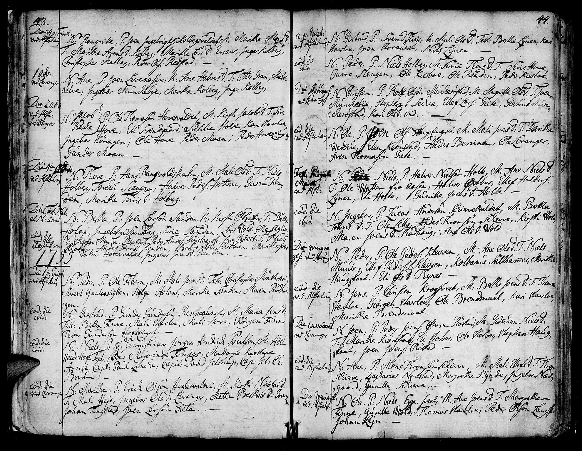 SAT, Ministerialprotokoller, klokkerbøker og fødselsregistre - Nord-Trøndelag, 717/L0141: Ministerialbok nr. 717A01, 1747-1803, s. 43-44