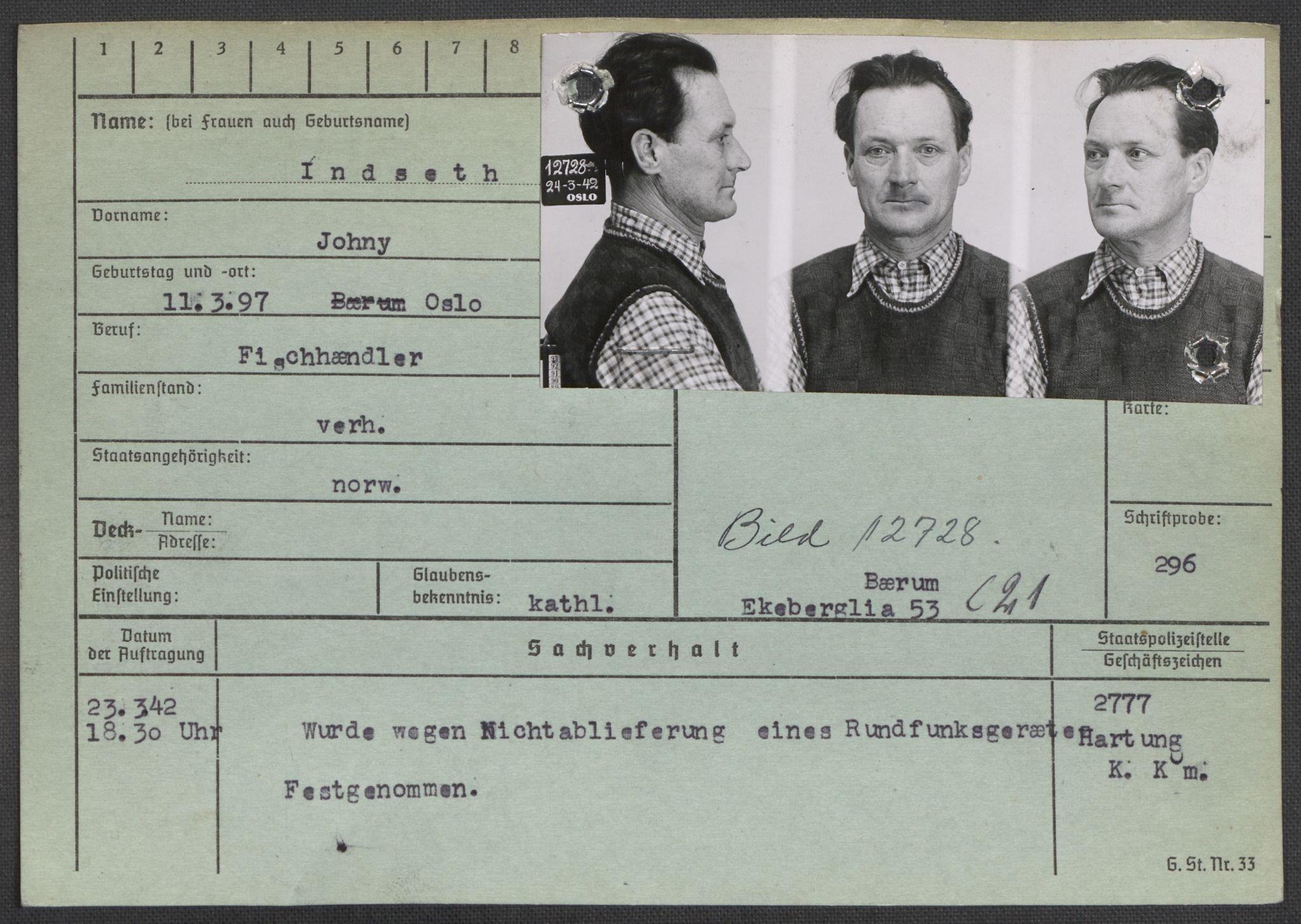 RA, Befehlshaber der Sicherheitspolizei und des SD, E/Ea/Eaa/L0005: Register over norske fanger i Møllergata 19: Hø-Kj, 1940-1945, s. 128