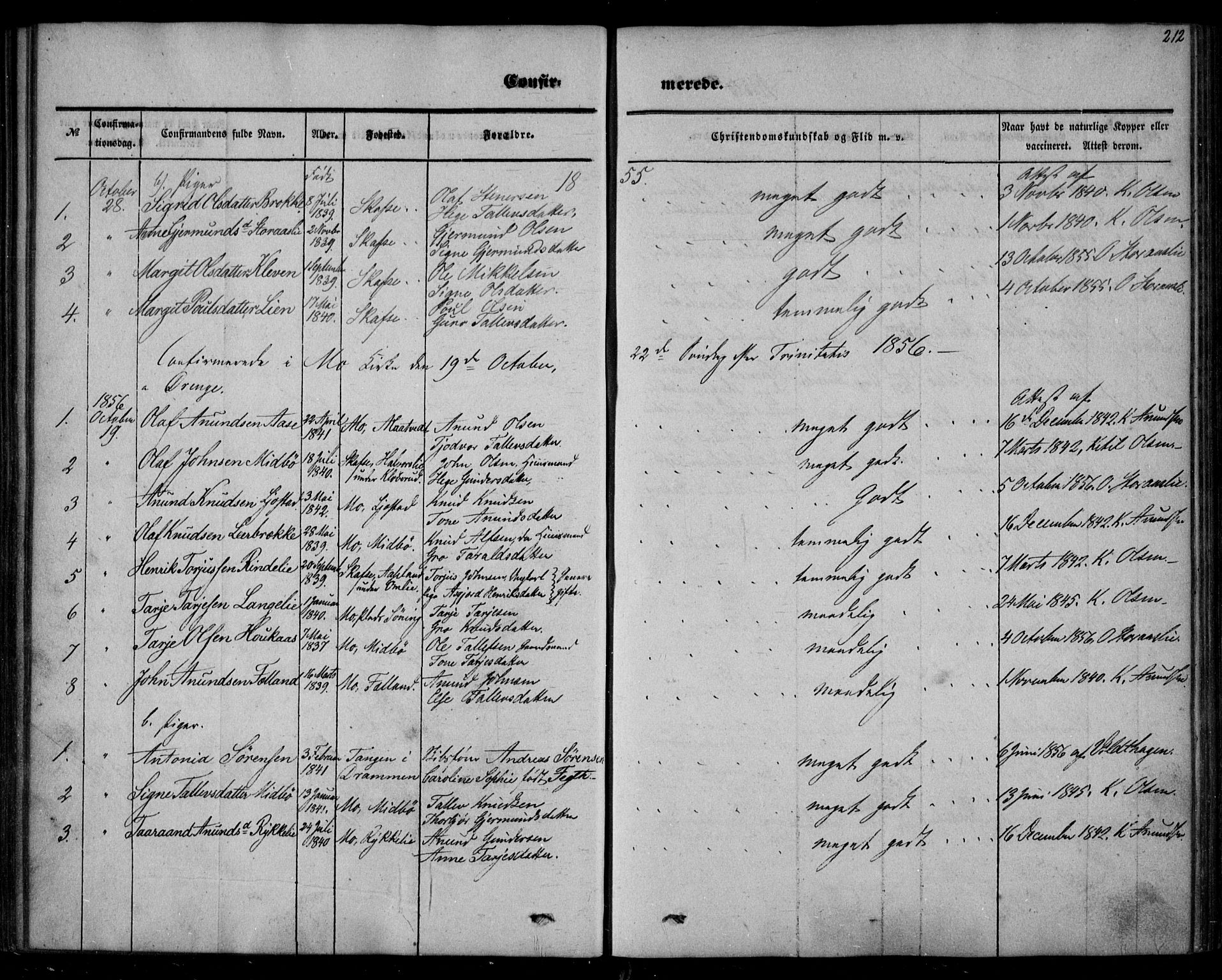 SAKO, Mo kirkebøker, F/Fa/L0005: Ministerialbok nr. I 5, 1844-1864, s. 212