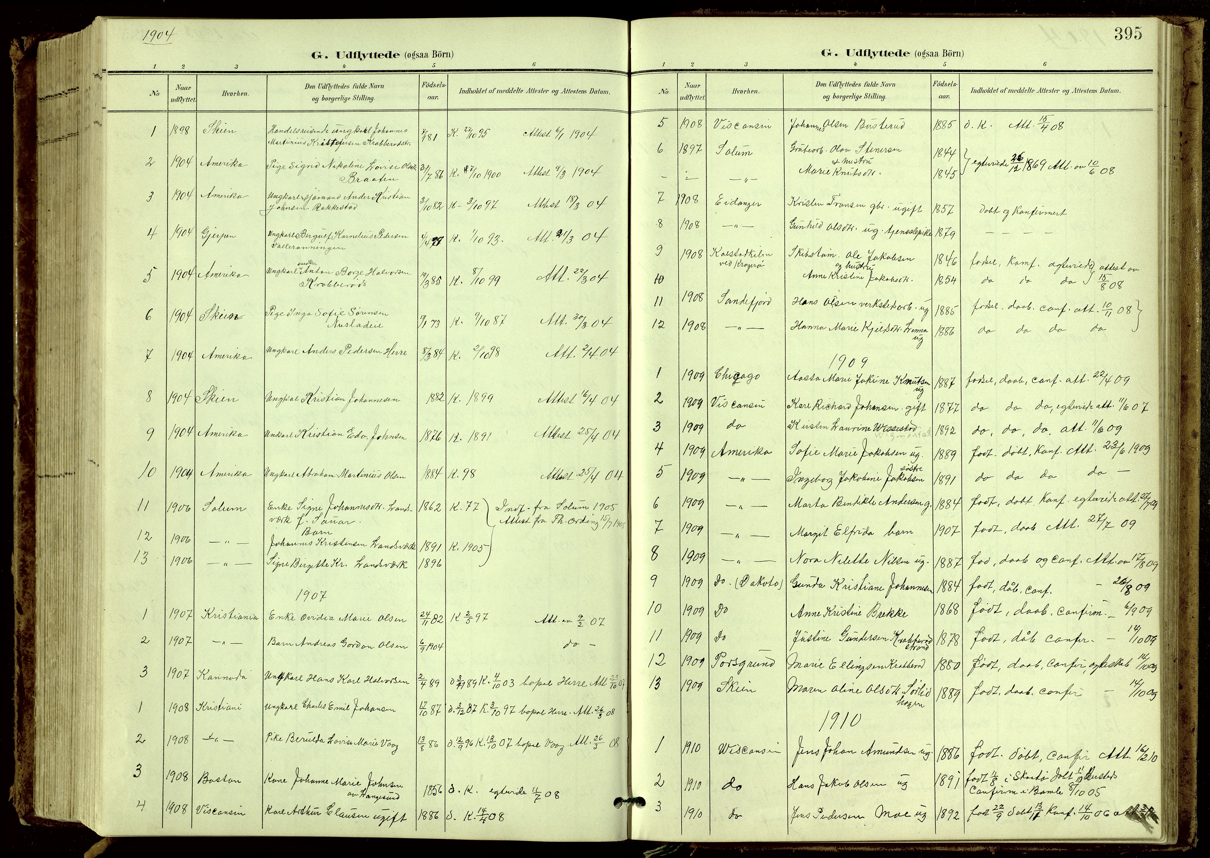 SAKO, Bamble kirkebøker, G/Ga/L0010: Klokkerbok nr. I 10, 1901-1919, s. 395