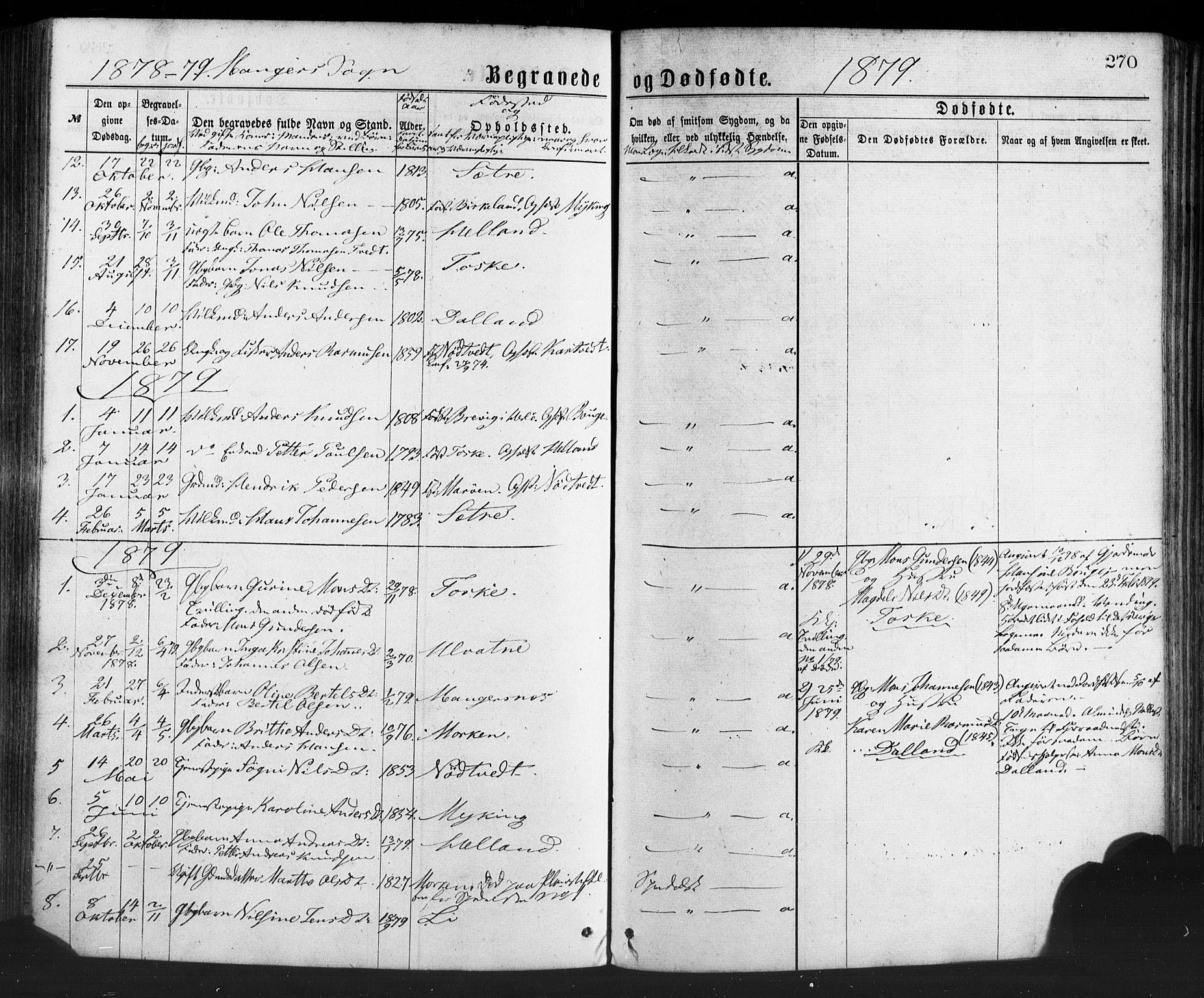 SAB, Manger sokneprestembete, H/Haa: Ministerialbok nr. A 8, 1871-1880, s. 270