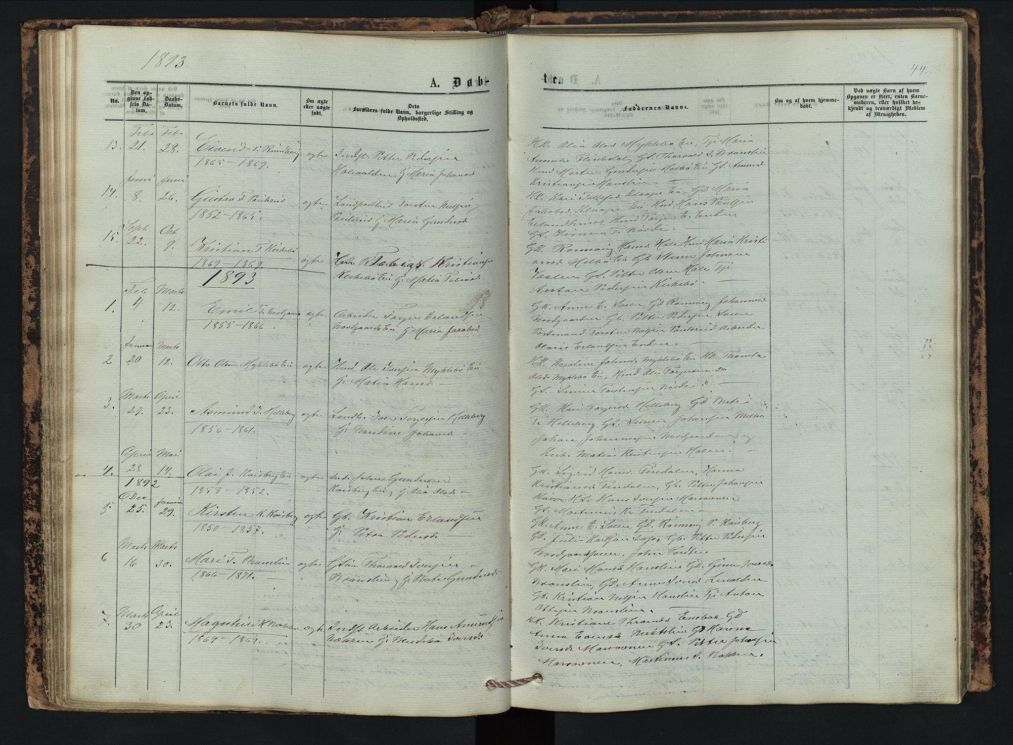 SAH, Vestre Gausdal prestekontor, Klokkerbok nr. 2, 1874-1897, s. 44