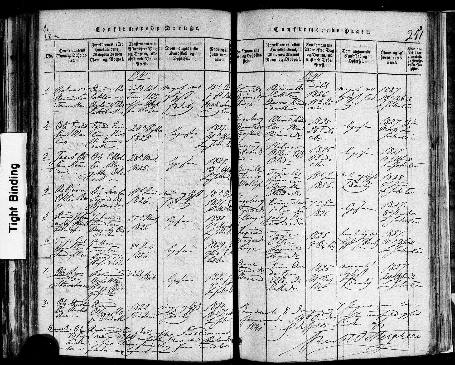 SAKO, Rauland kirkebøker, F/Fa/L0002: Ministerialbok nr. 2, 1815-1860, s. 251