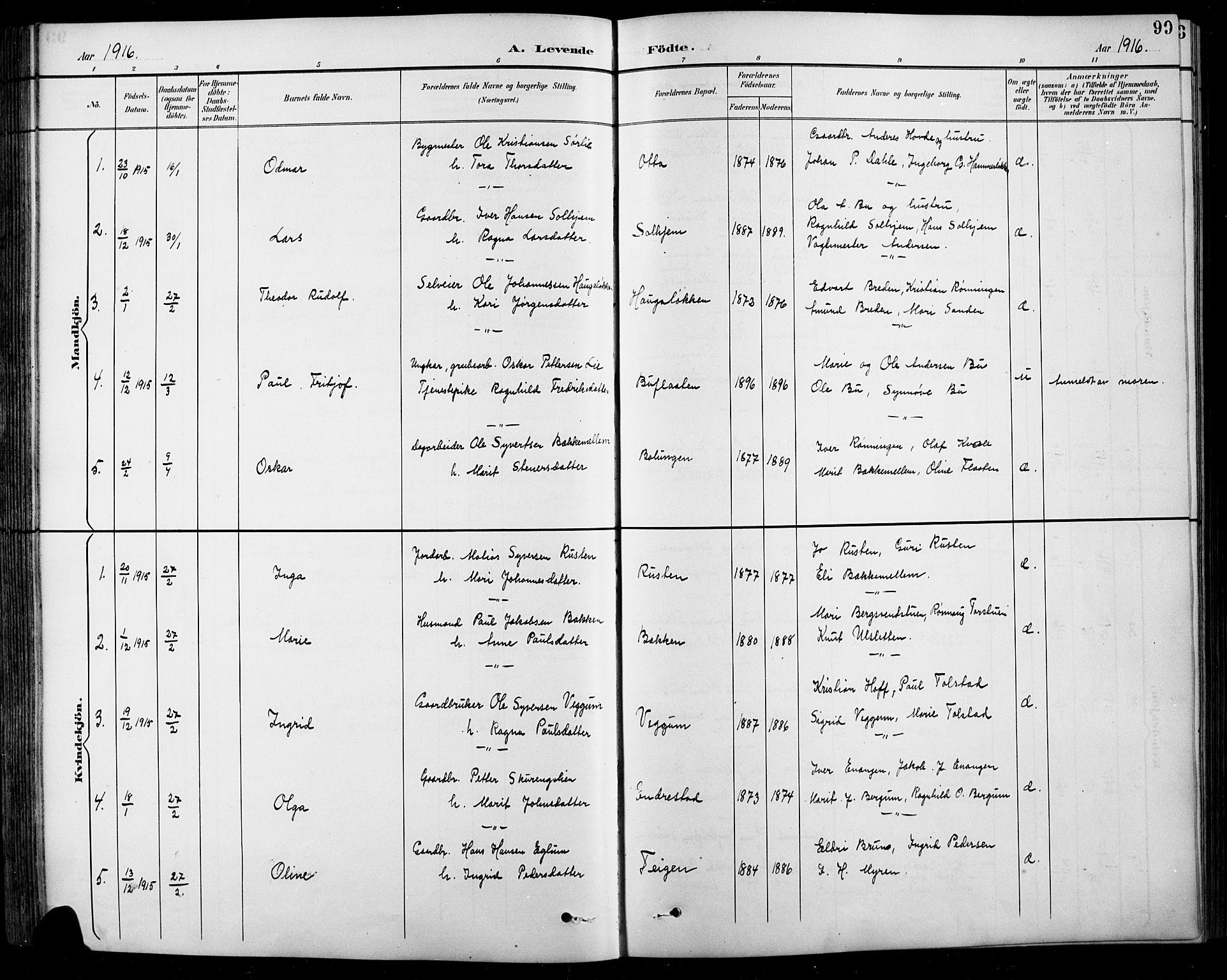 SAH, Sel prestekontor, Klokkerbok nr. 1, 1894-1923, s. 99