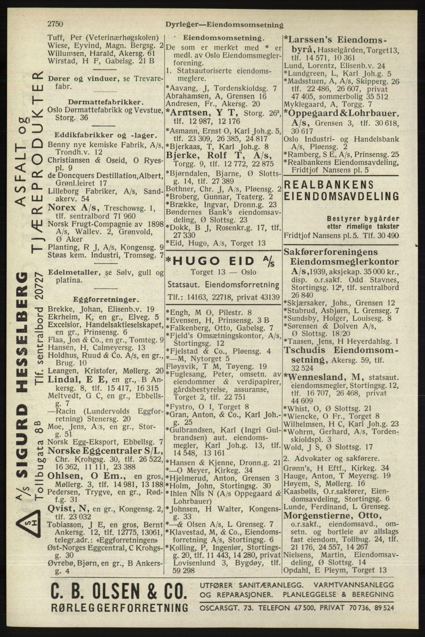 RA, Oslo adressebok (publikasjon)*, 1940, s. 2750