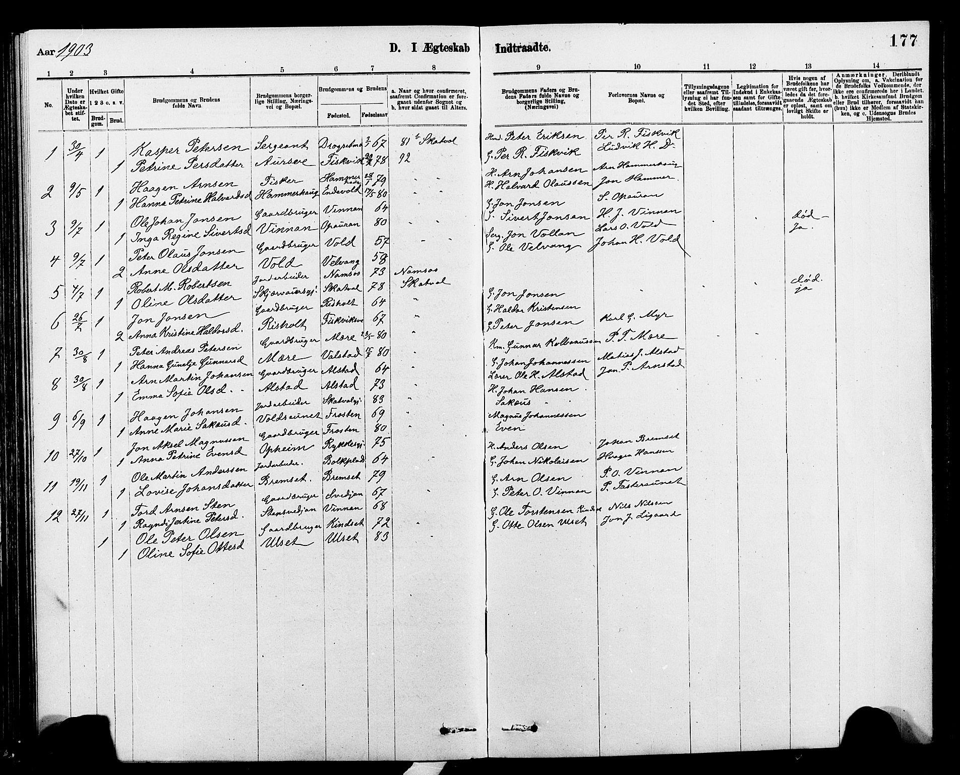 SAT, Ministerialprotokoller, klokkerbøker og fødselsregistre - Nord-Trøndelag, 712/L0103: Klokkerbok nr. 712C01, 1878-1917, s. 177