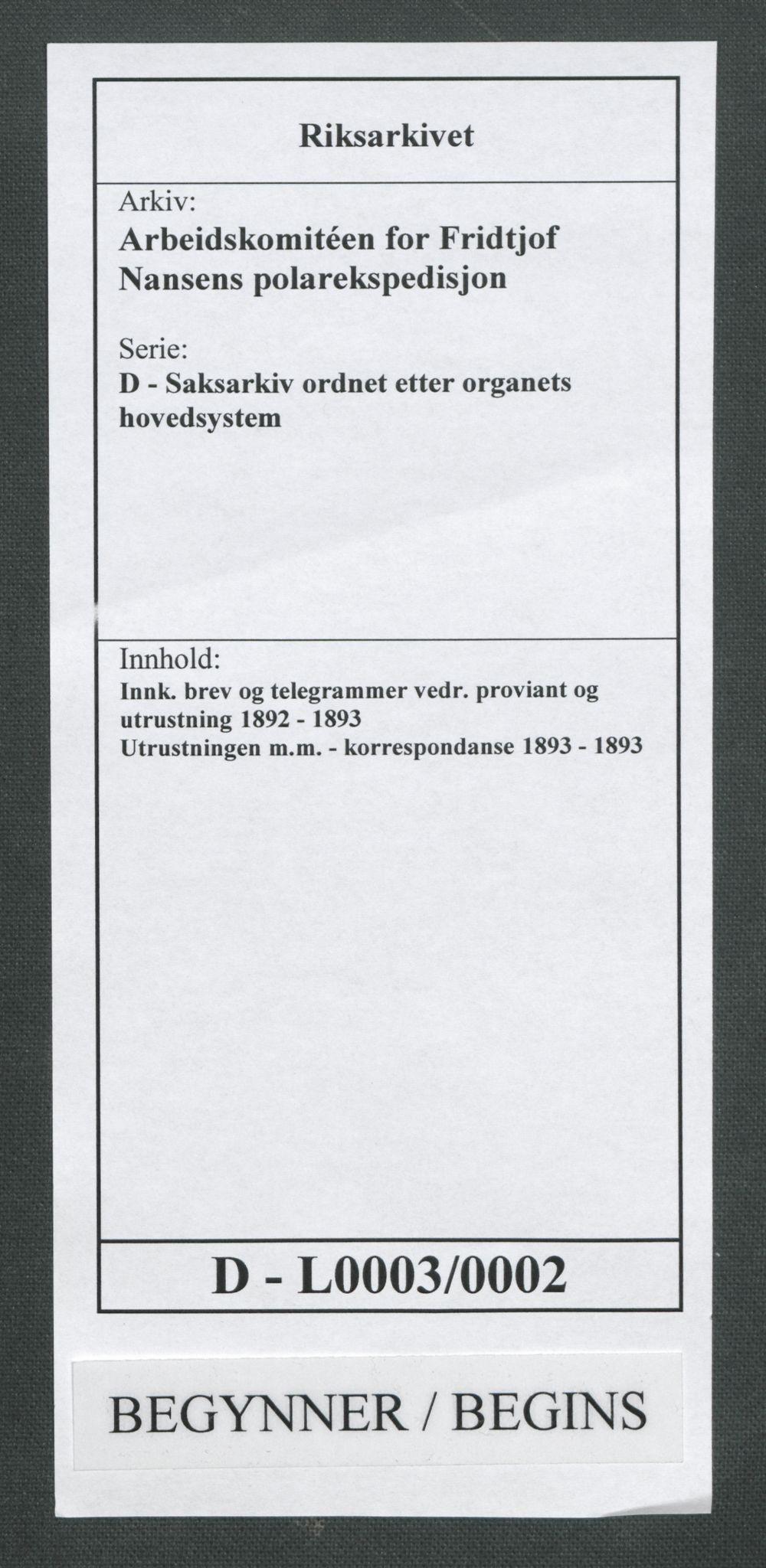 RA, Arbeidskomitéen for Fridtjof Nansens polarekspedisjon, D/L0003: Innk. brev og telegrammer vedr. proviant og utrustning, 1893, s. 1