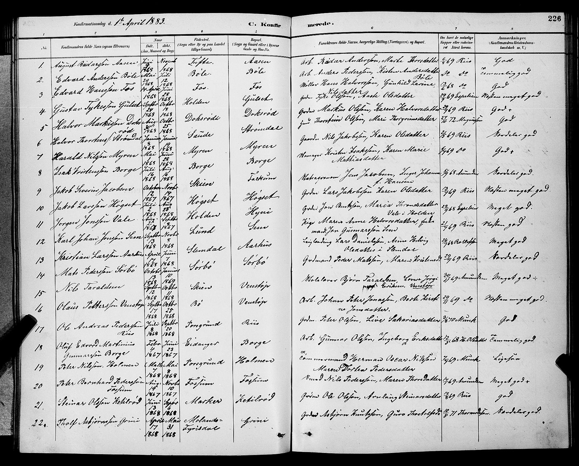 SAKO, Gjerpen kirkebøker, G/Ga/L0002: Klokkerbok nr. I 2, 1883-1900, s. 226