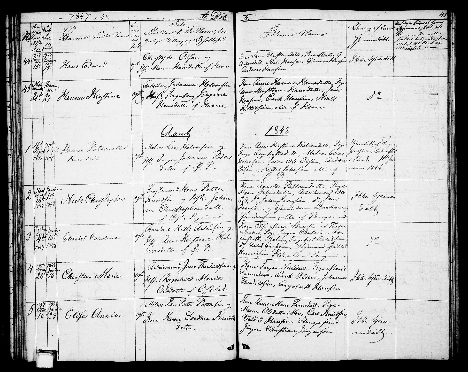 SAKO, Porsgrunn kirkebøker , G/Gb/L0003: Klokkerbok nr. II 3, 1841-1852, s. 43