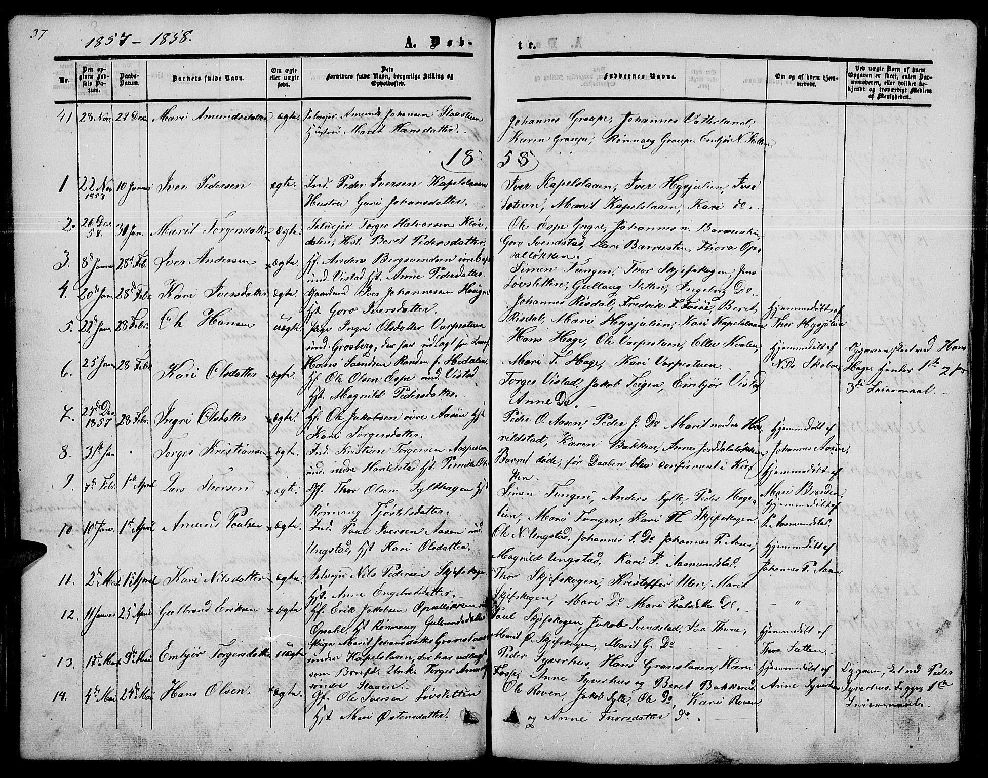 SAH, Nord-Fron prestekontor, Klokkerbok nr. 2, 1851-1883, s. 37
