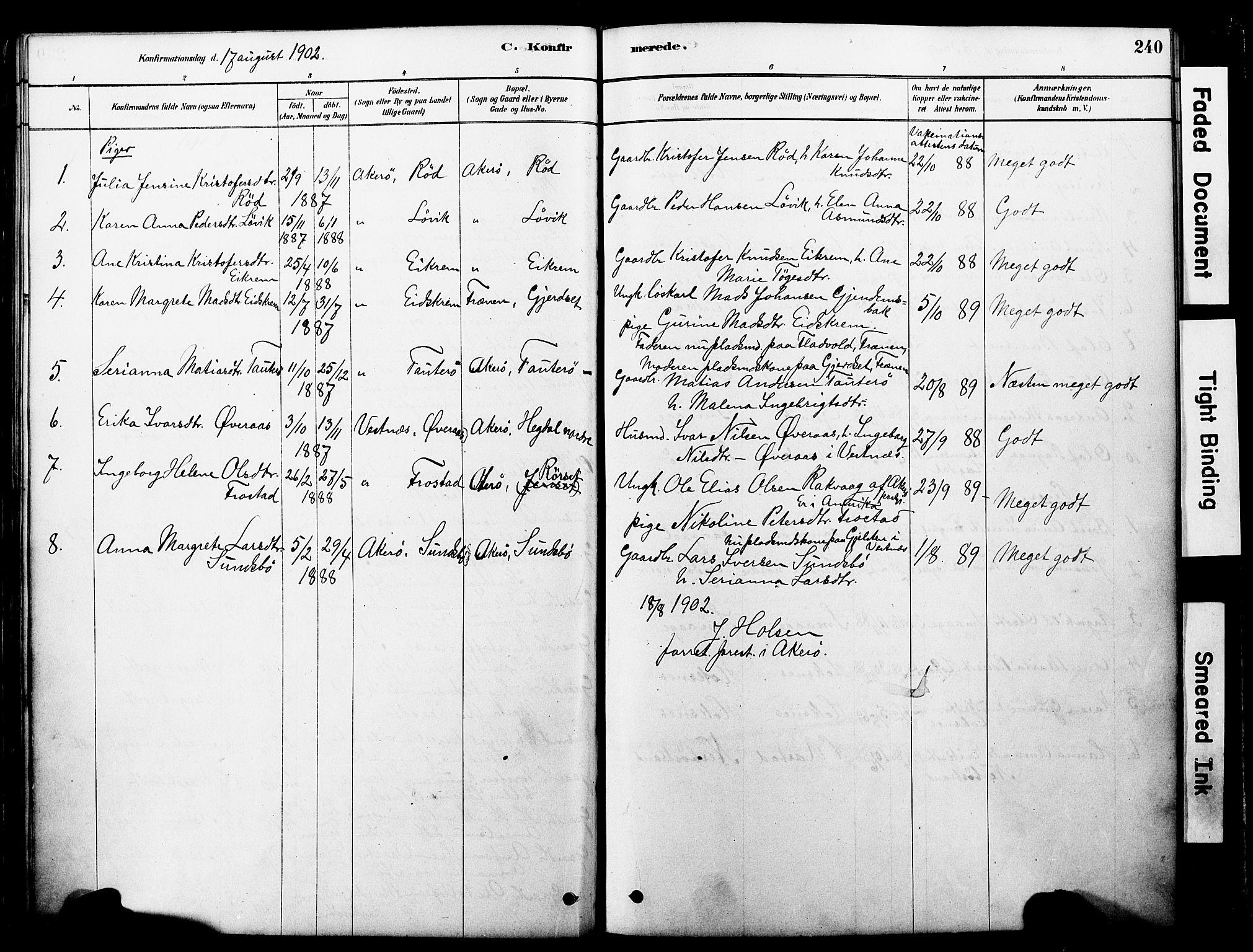 SAT, Ministerialprotokoller, klokkerbøker og fødselsregistre - Møre og Romsdal, 560/L0721: Ministerialbok nr. 560A05, 1878-1917, s. 240