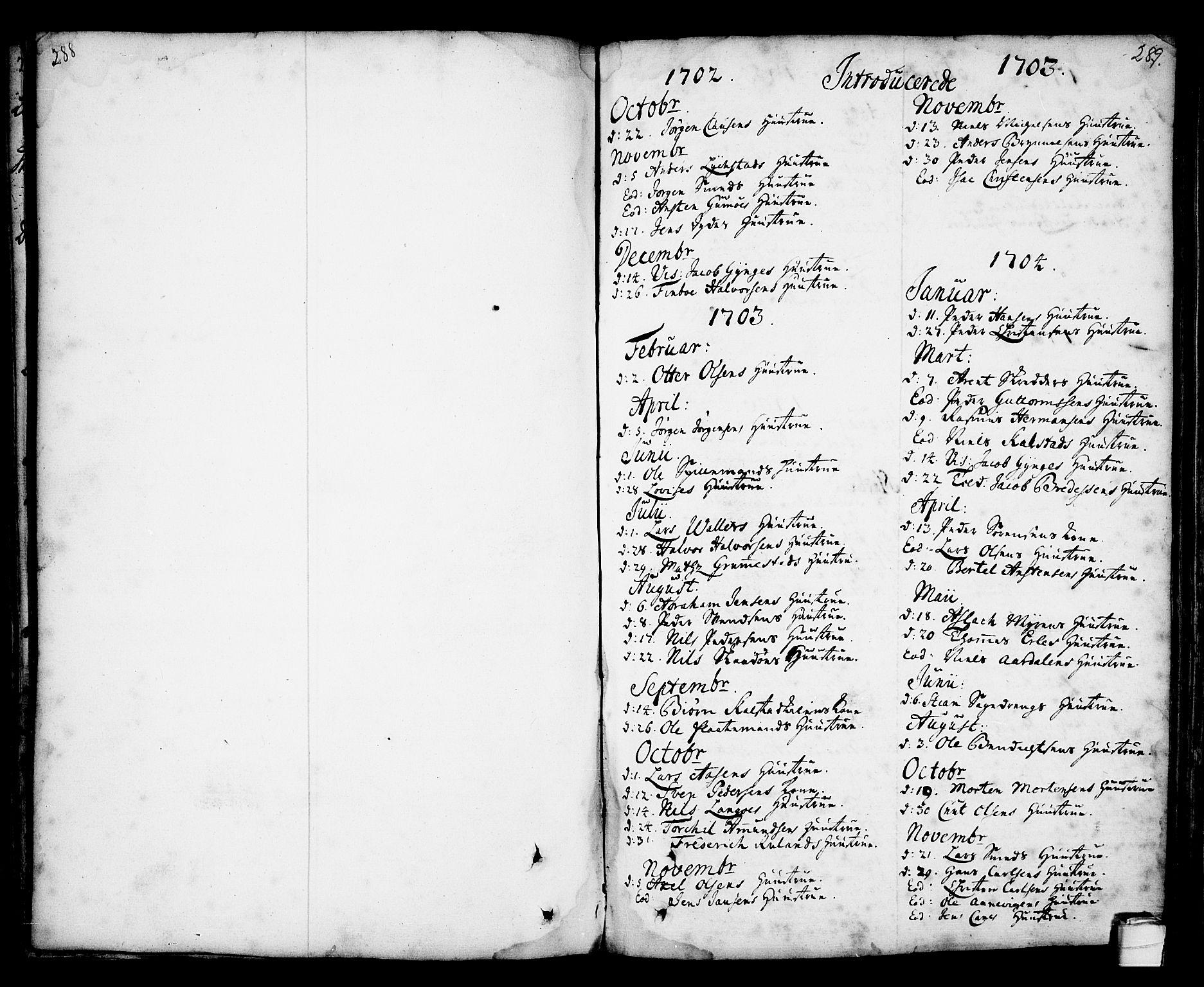 SAKO, Kragerø kirkebøker, F/Fa/L0001: Ministerialbok nr. 1, 1702-1766, s. 288-289