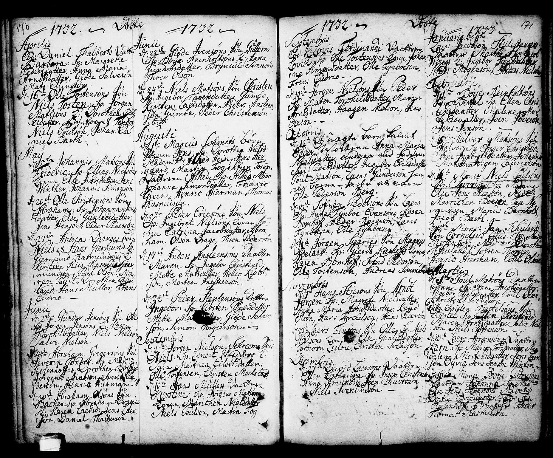 SAKO, Kragerø kirkebøker, F/Fa/L0001: Ministerialbok nr. 1, 1702-1766, s. 170-171