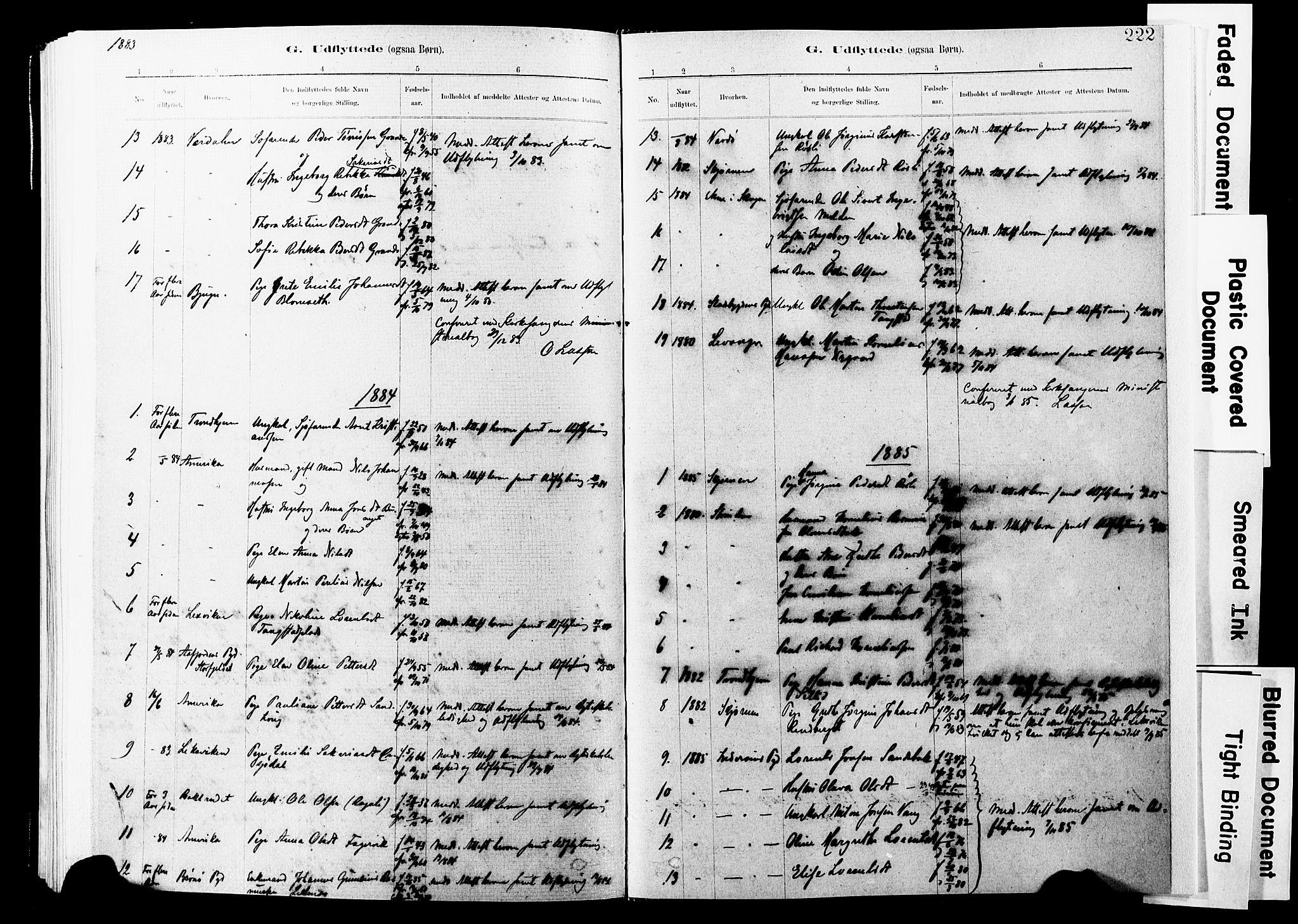 SAT, Ministerialprotokoller, klokkerbøker og fødselsregistre - Nord-Trøndelag, 744/L0420: Ministerialbok nr. 744A04, 1882-1904, s. 222