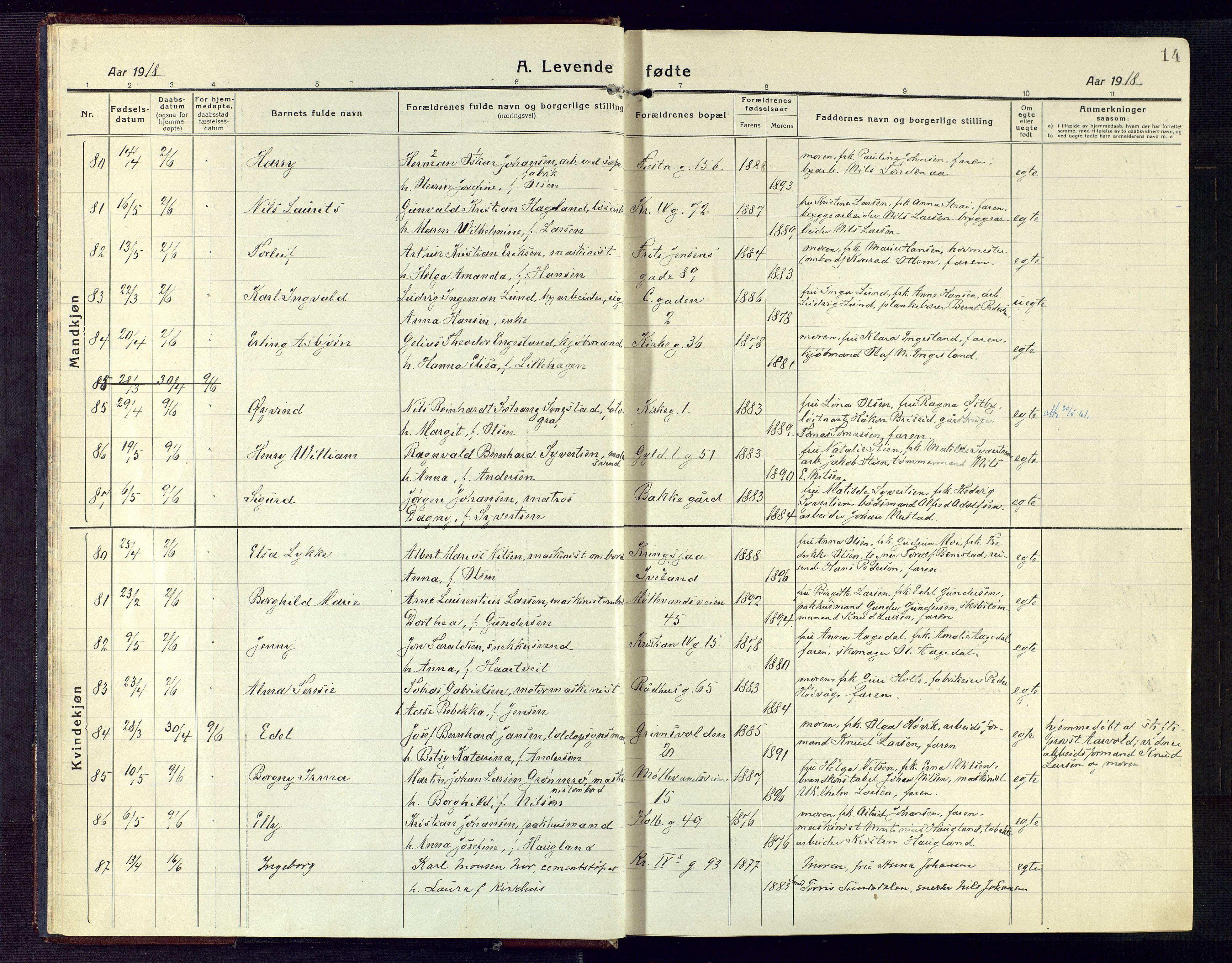 SAK, Kristiansand domprosti, F/Fa/L0024: Ministerialbok nr. A 23, 1918-1928, s. 14
