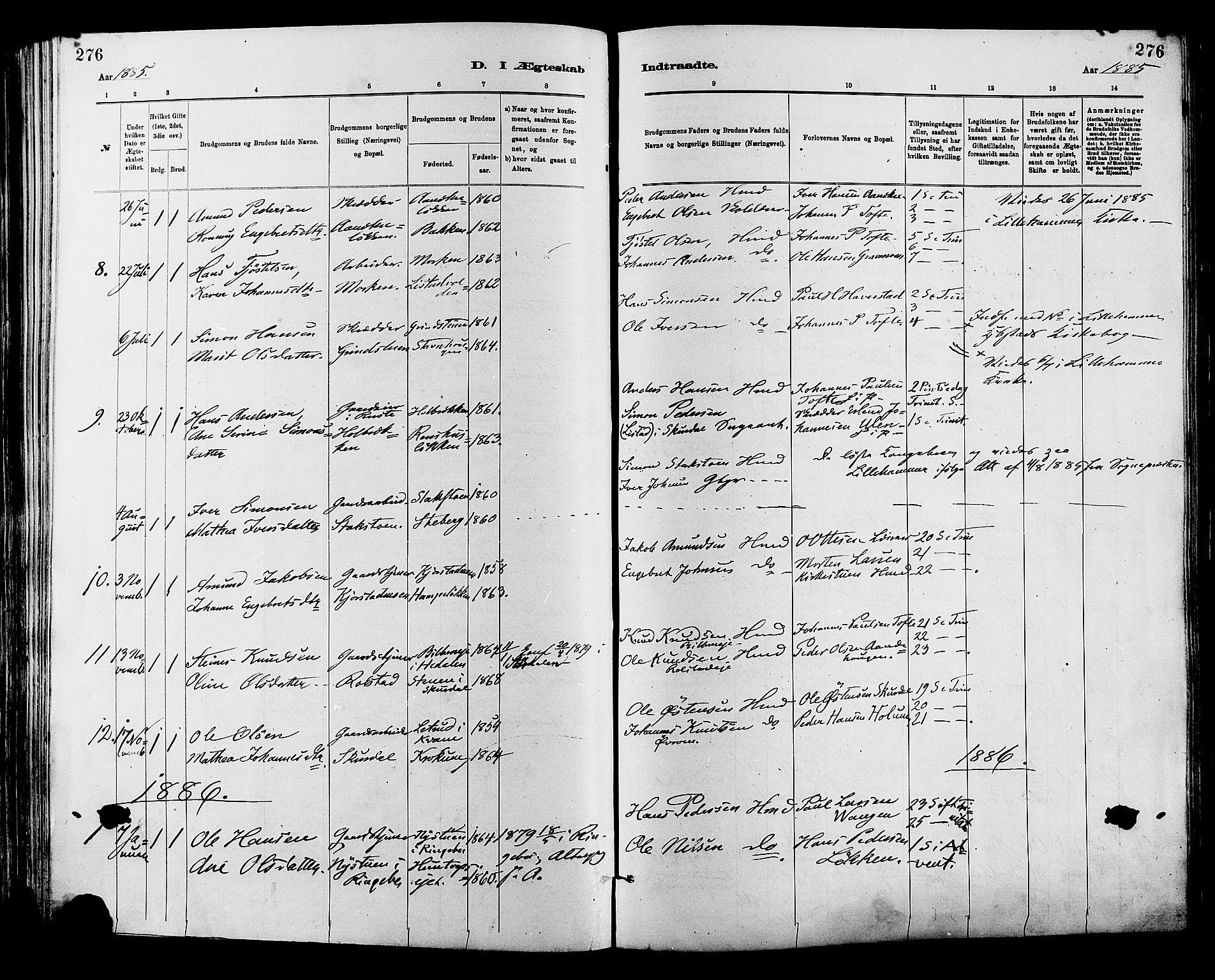 SAH, Sør-Fron prestekontor, H/Ha/Haa/L0003: Ministerialbok nr. 3, 1881-1897, s. 276