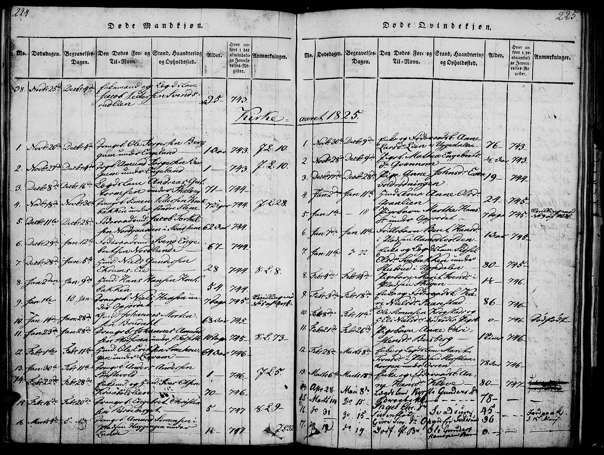 SAH, Gausdal prestekontor, Ministerialbok nr. 5, 1817-1829, s. 224-225