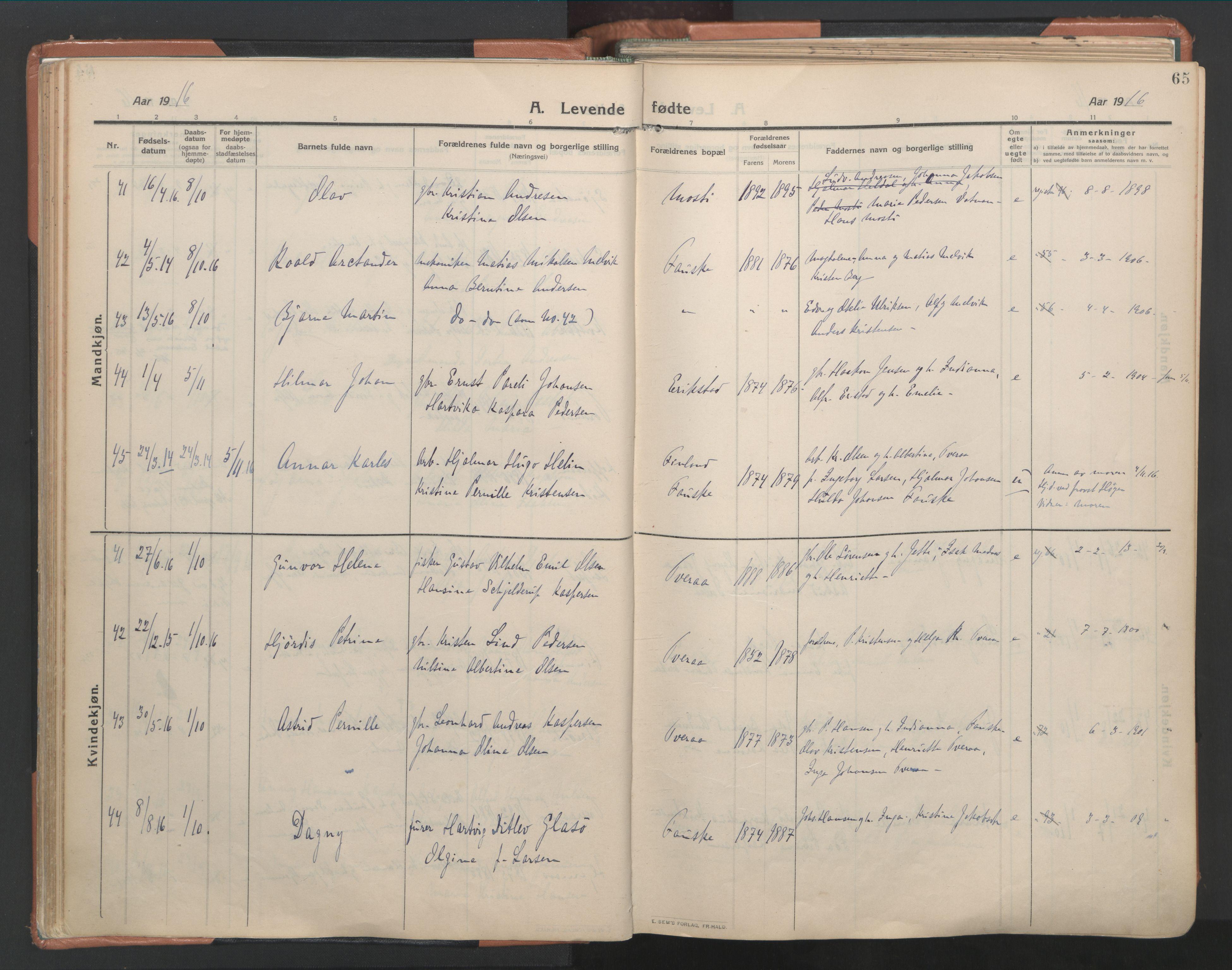 SAT, Ministerialprotokoller, klokkerbøker og fødselsregistre - Nordland, 849/L0698: Ministerialbok nr. 849A09, 1911-1924, s. 65
