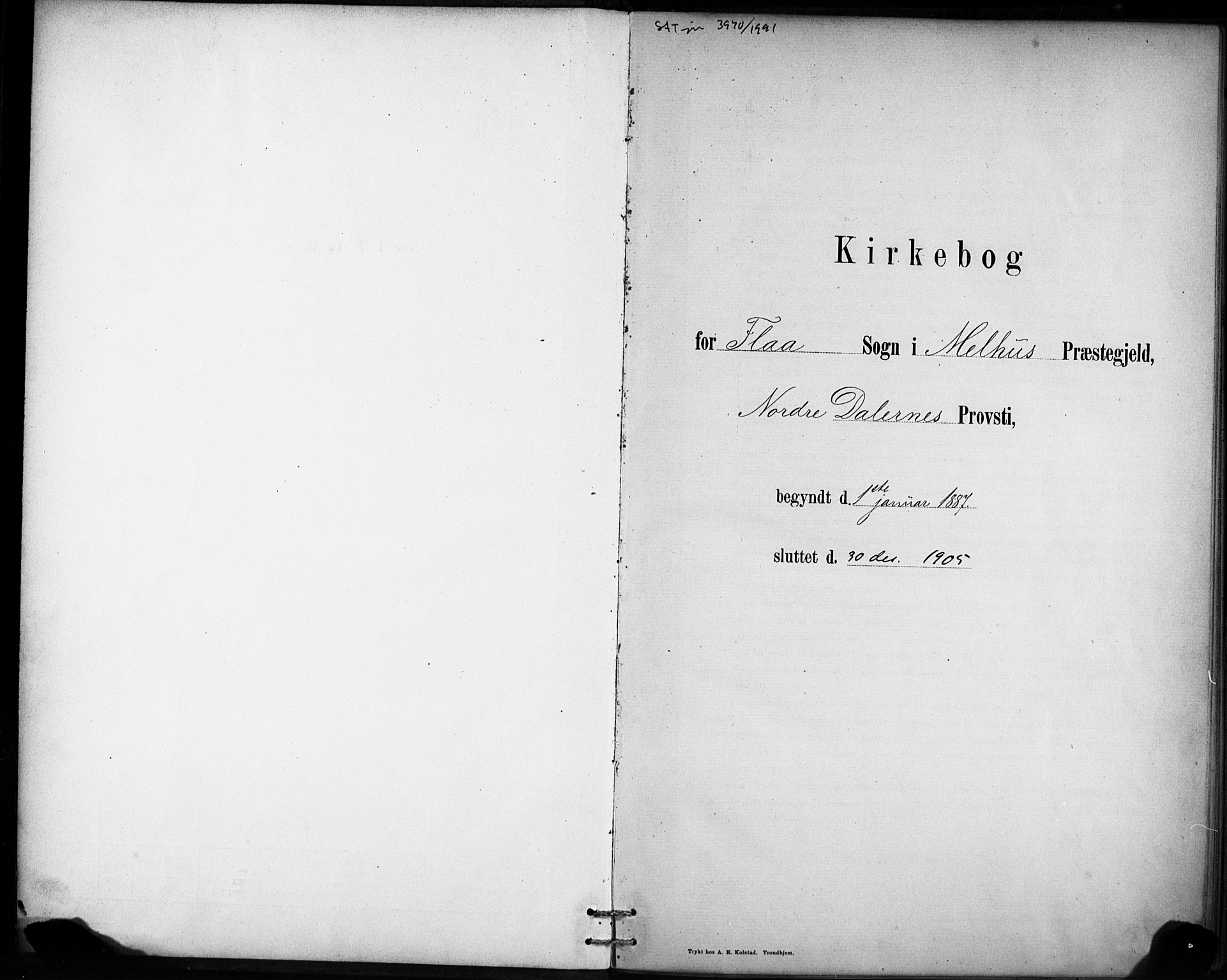 SAT, Ministerialprotokoller, klokkerbøker og fødselsregistre - Sør-Trøndelag, 693/L1119: Ministerialbok nr. 693A01, 1887-1905