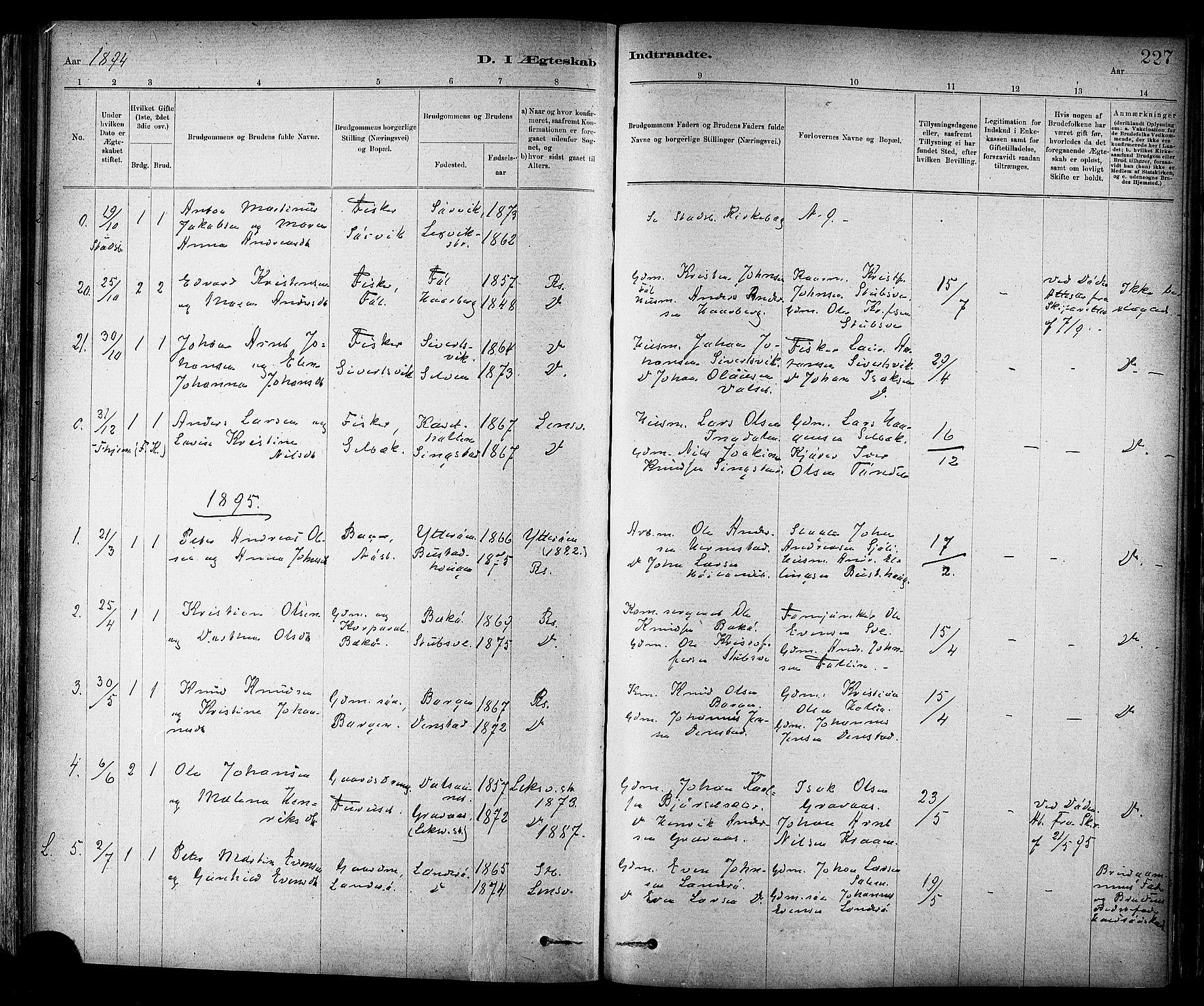 SAT, Ministerialprotokoller, klokkerbøker og fødselsregistre - Sør-Trøndelag, 647/L0634: Ministerialbok nr. 647A01, 1885-1896, s. 227