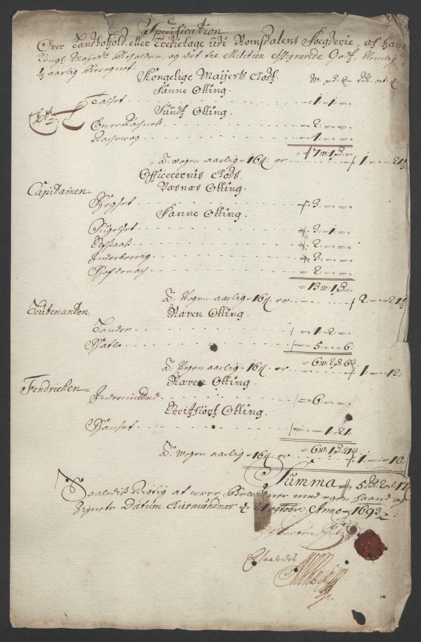 RA, Rentekammeret inntil 1814, Reviderte regnskaper, Fogderegnskap, R55/L3651: Fogderegnskap Romsdal, 1693-1694, s. 122