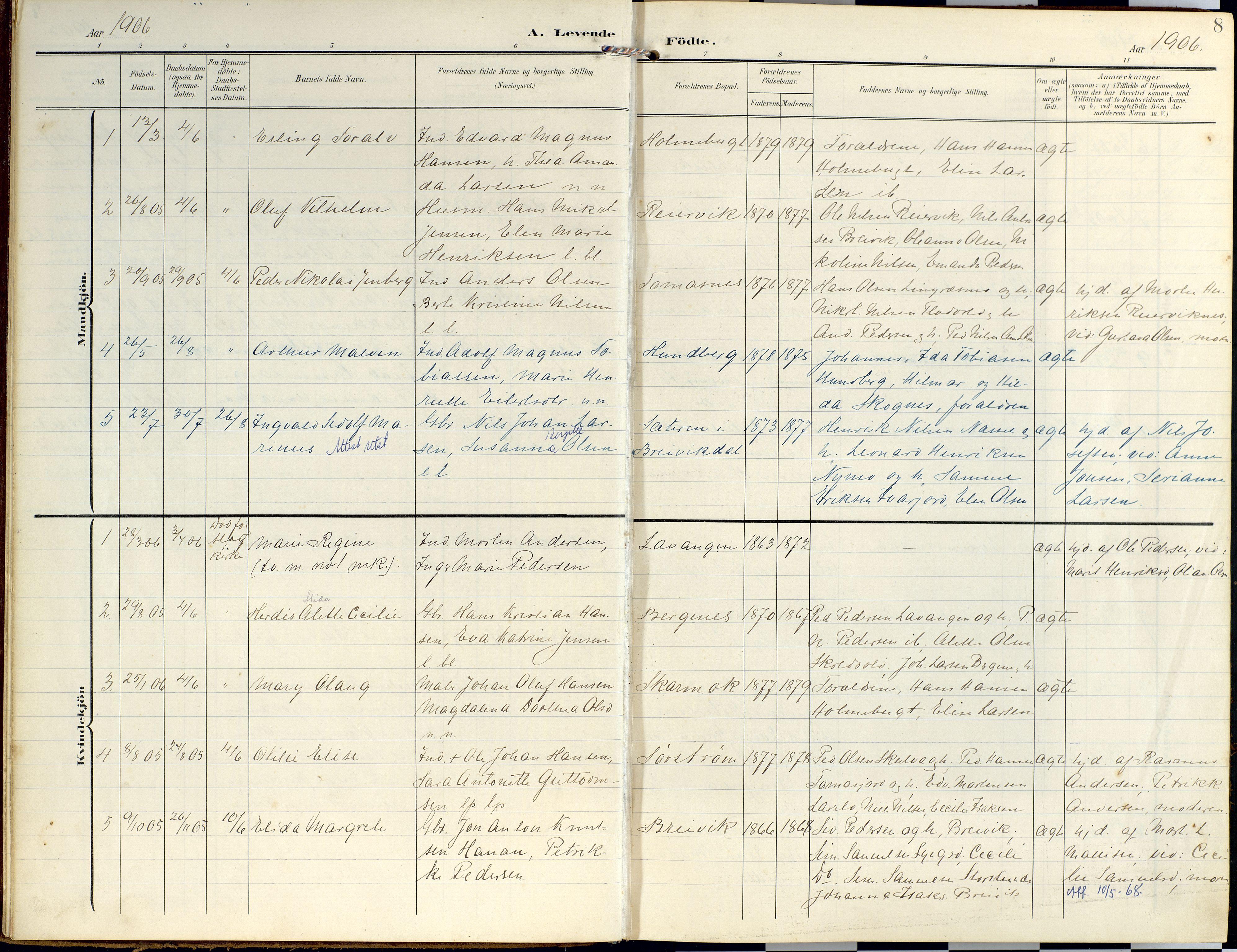 SATØ, Lyngen sokneprestembete, Ministerialbok nr. 14, 1905-1920, s. 8