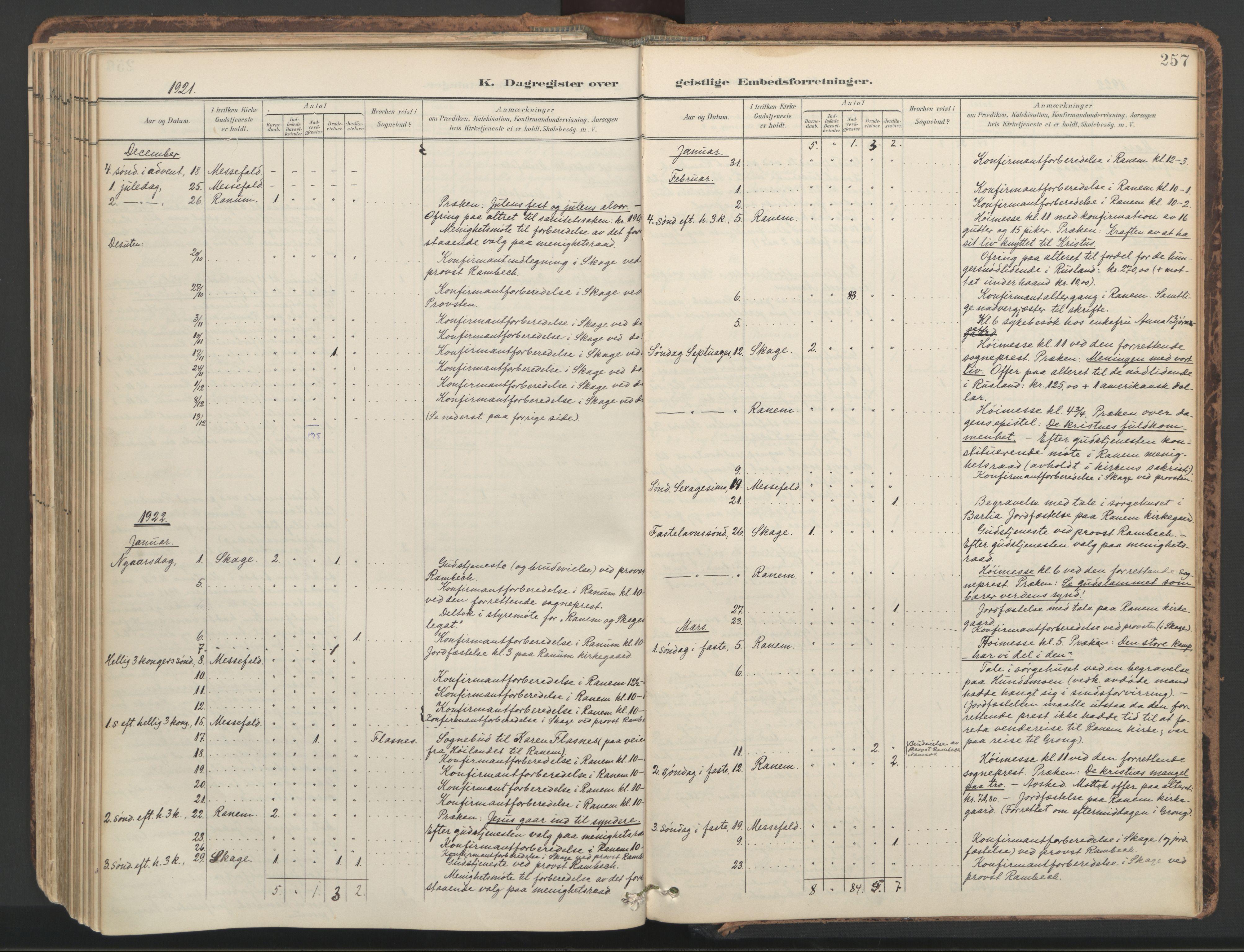SAT, Ministerialprotokoller, klokkerbøker og fødselsregistre - Nord-Trøndelag, 764/L0556: Ministerialbok nr. 764A11, 1897-1924, s. 257