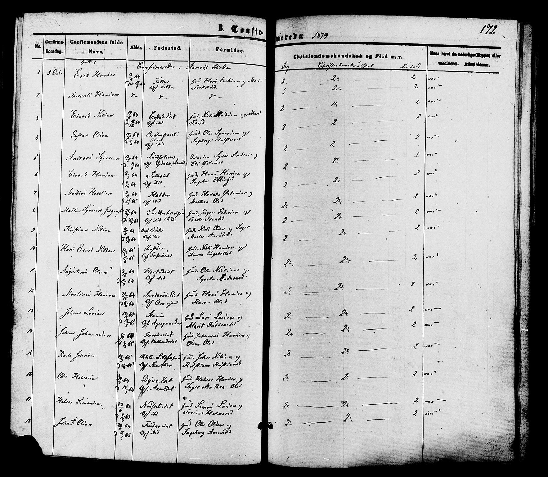 SAH, Nordre Land prestekontor, Ministerialbok nr. 2, 1872-1881, s. 172