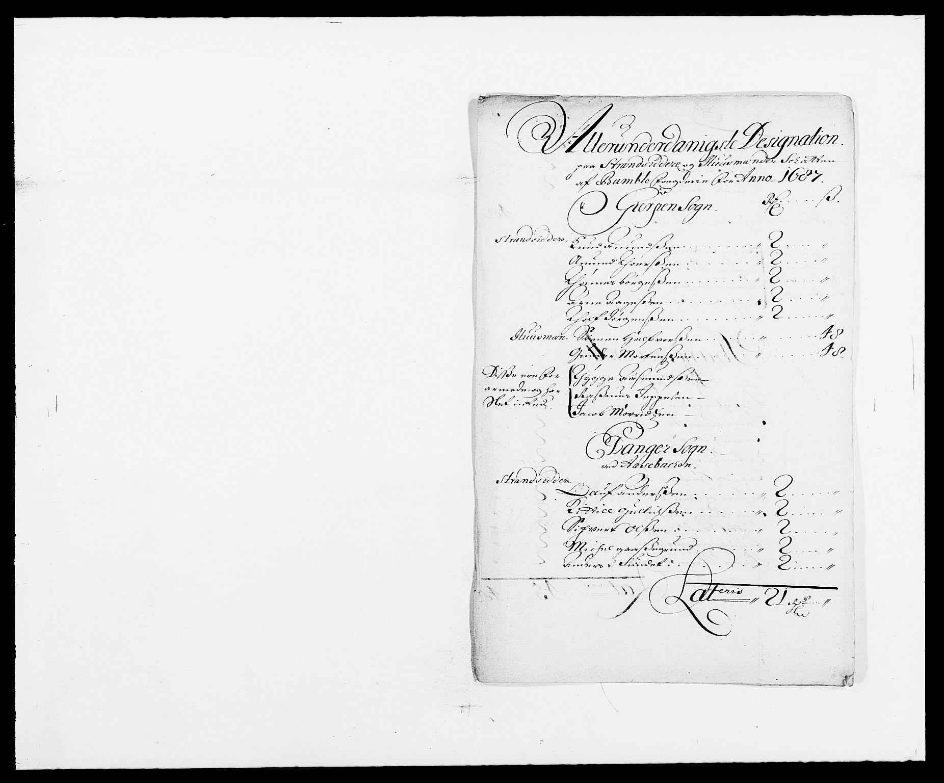 RA, Rentekammeret inntil 1814, Reviderte regnskaper, Fogderegnskap, R34/L2049: Fogderegnskap Bamble, 1685-1687, s. 269