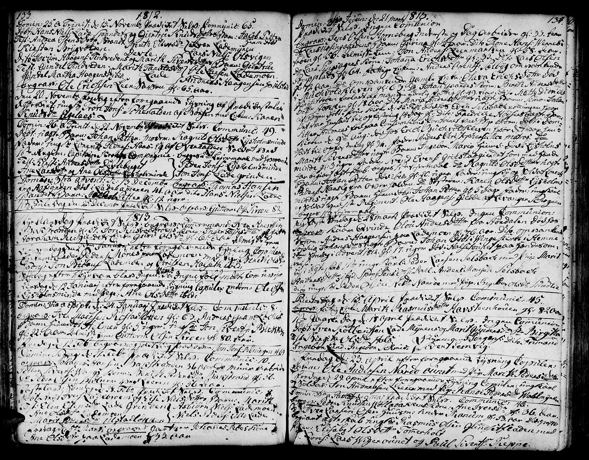 SAT, Ministerialprotokoller, klokkerbøker og fødselsregistre - Sør-Trøndelag, 606/L0280: Ministerialbok nr. 606A02 /1, 1781-1817, s. 133-134