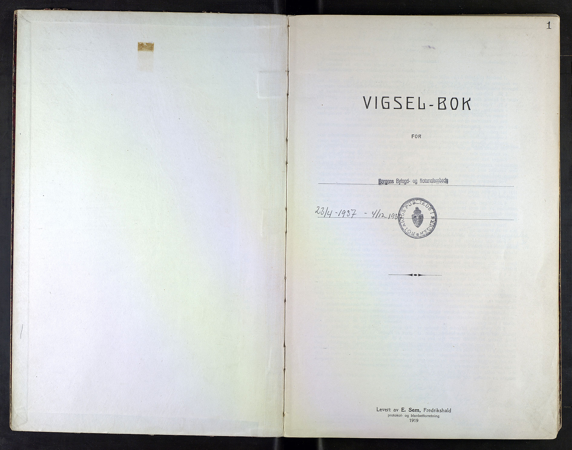 SAB, Bergen byfogd og byskriver*, 1937, s. 1a