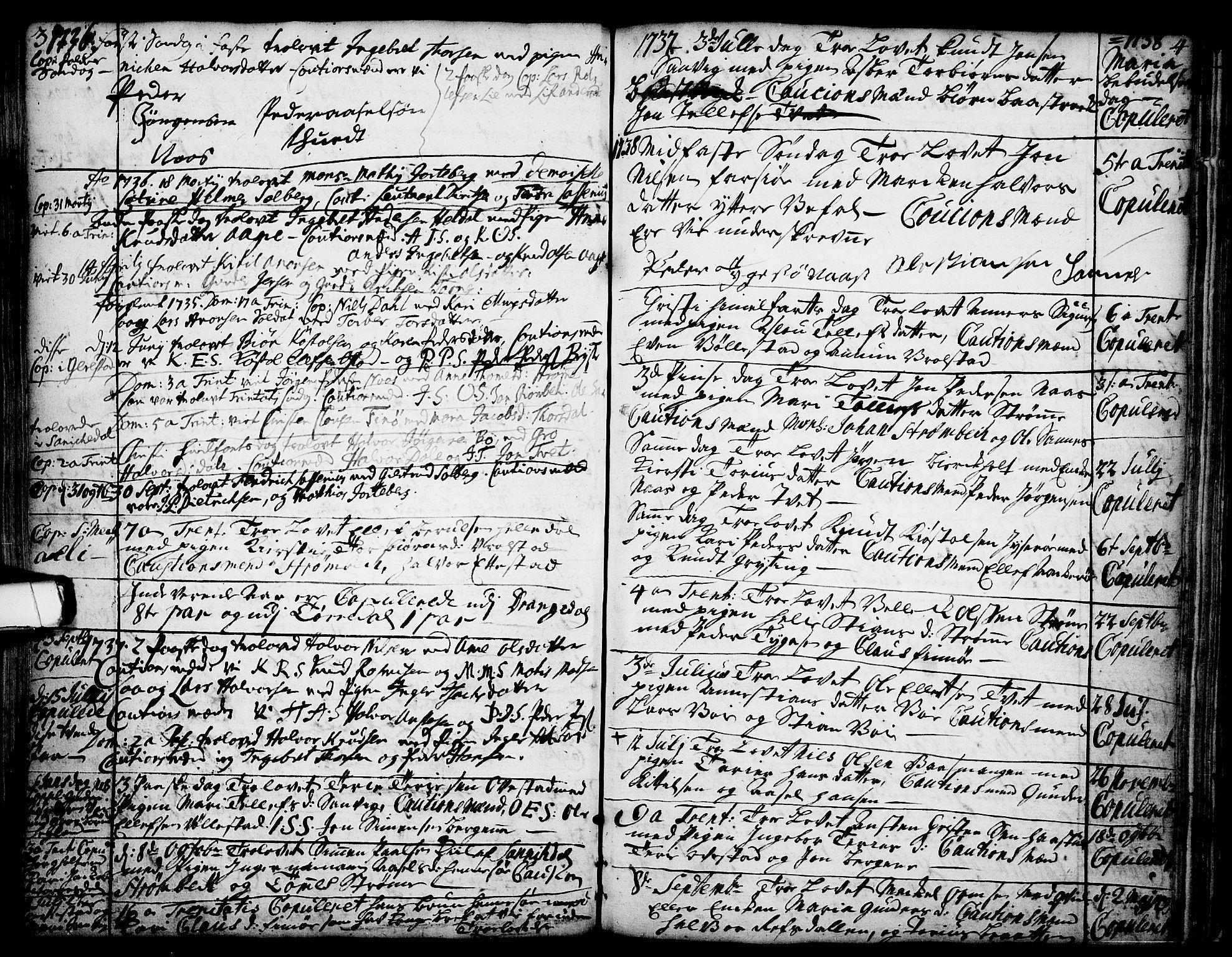 SAKO, Drangedal kirkebøker, F/Fa/L0002: Ministerialbok nr. 2, 1733-1753, s. 3-4