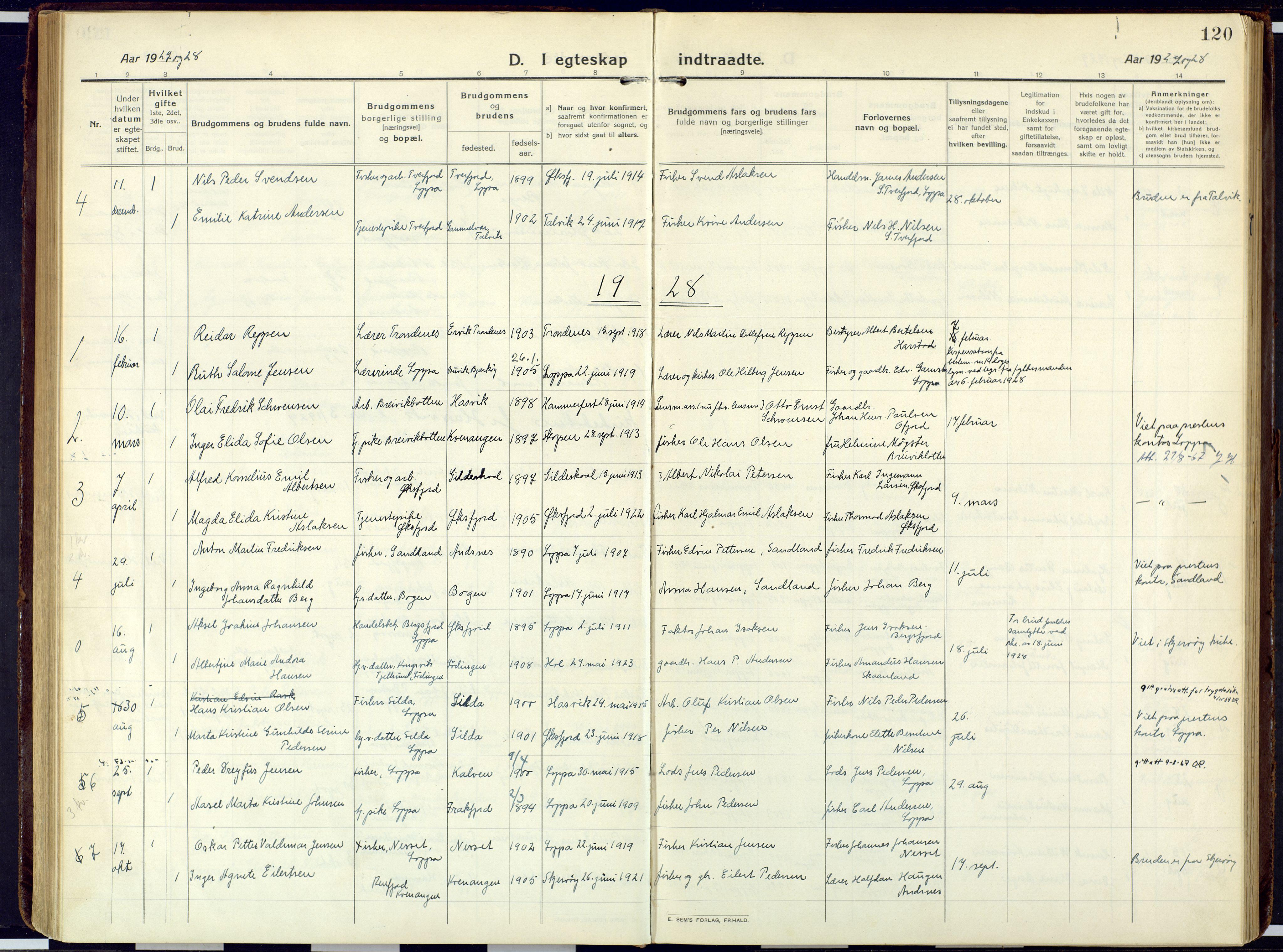 SATØ, Loppa sokneprestkontor, H/Ha/L0013kirke: Ministerialbok nr. 13, 1920-1932, s. 120
