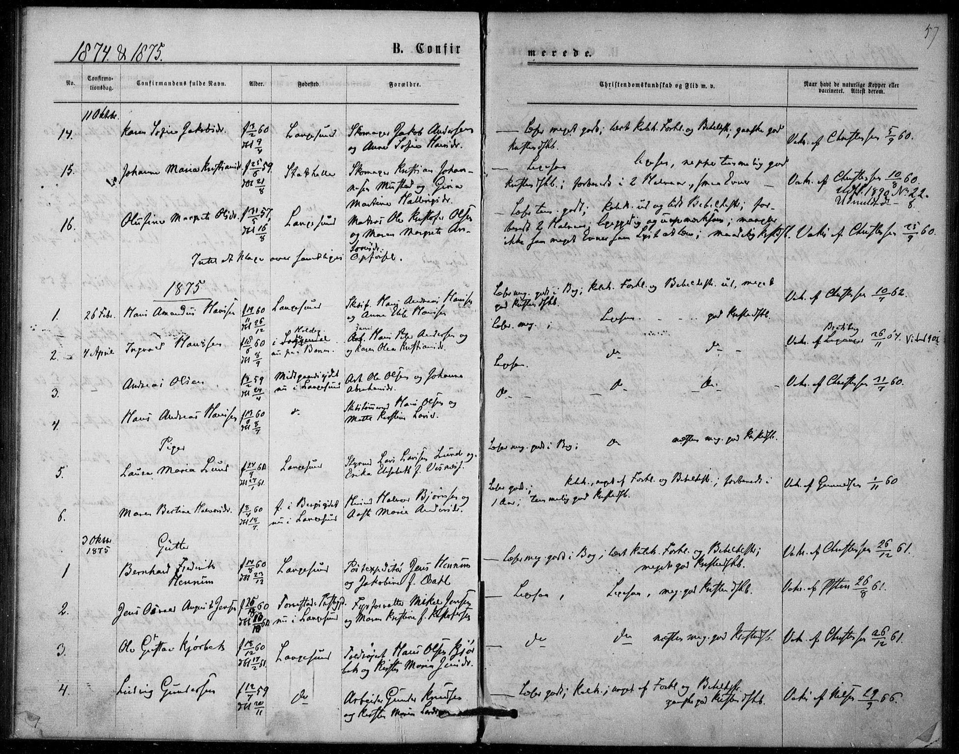 SAKO, Langesund kirkebøker, F/Fa/L0001: Ministerialbok nr. 1, 1870-1877, s. 57