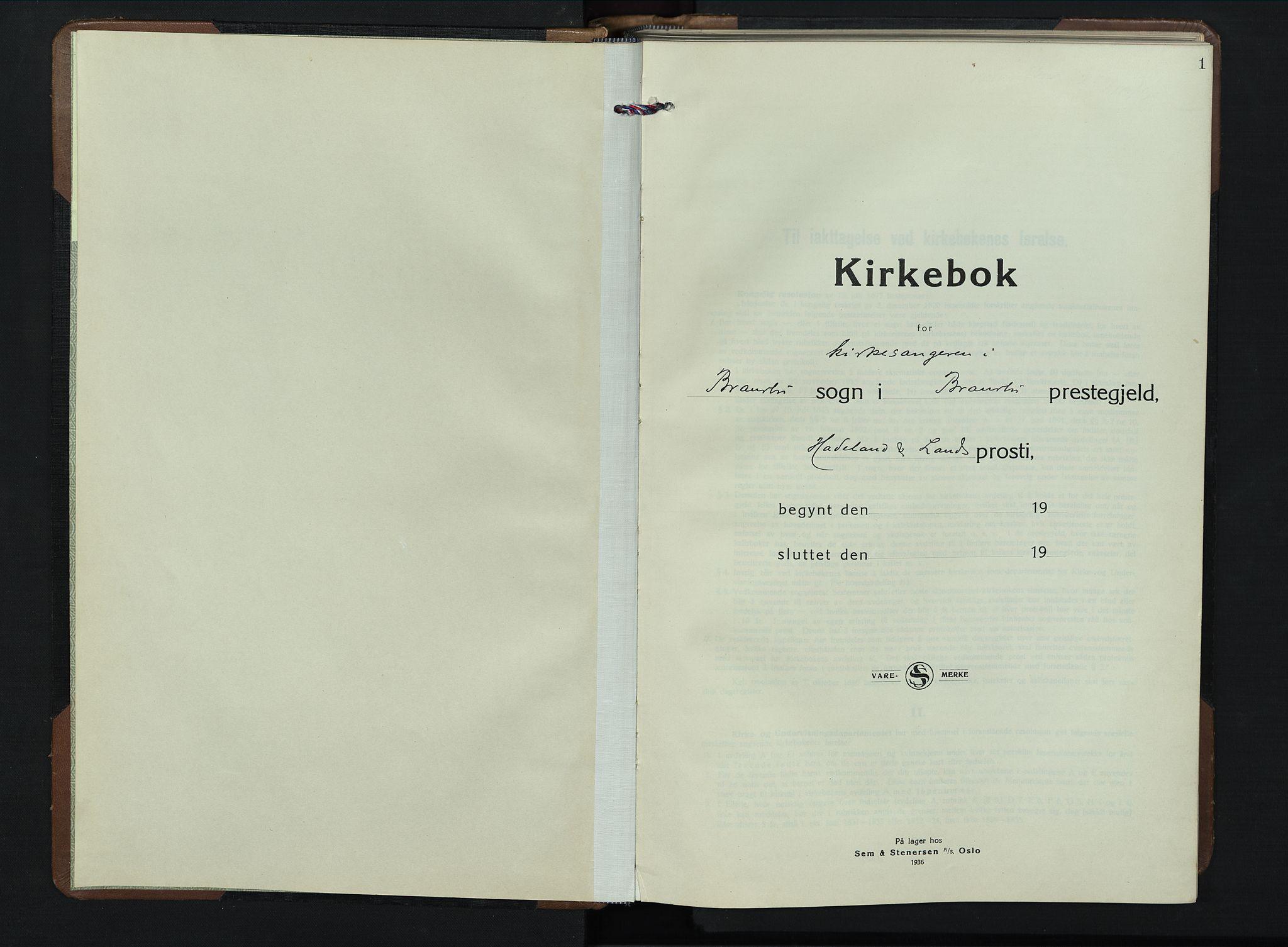 SAH, Brandbu prestekontor, Klokkerbok nr. 2, 1937-1953, s. 1