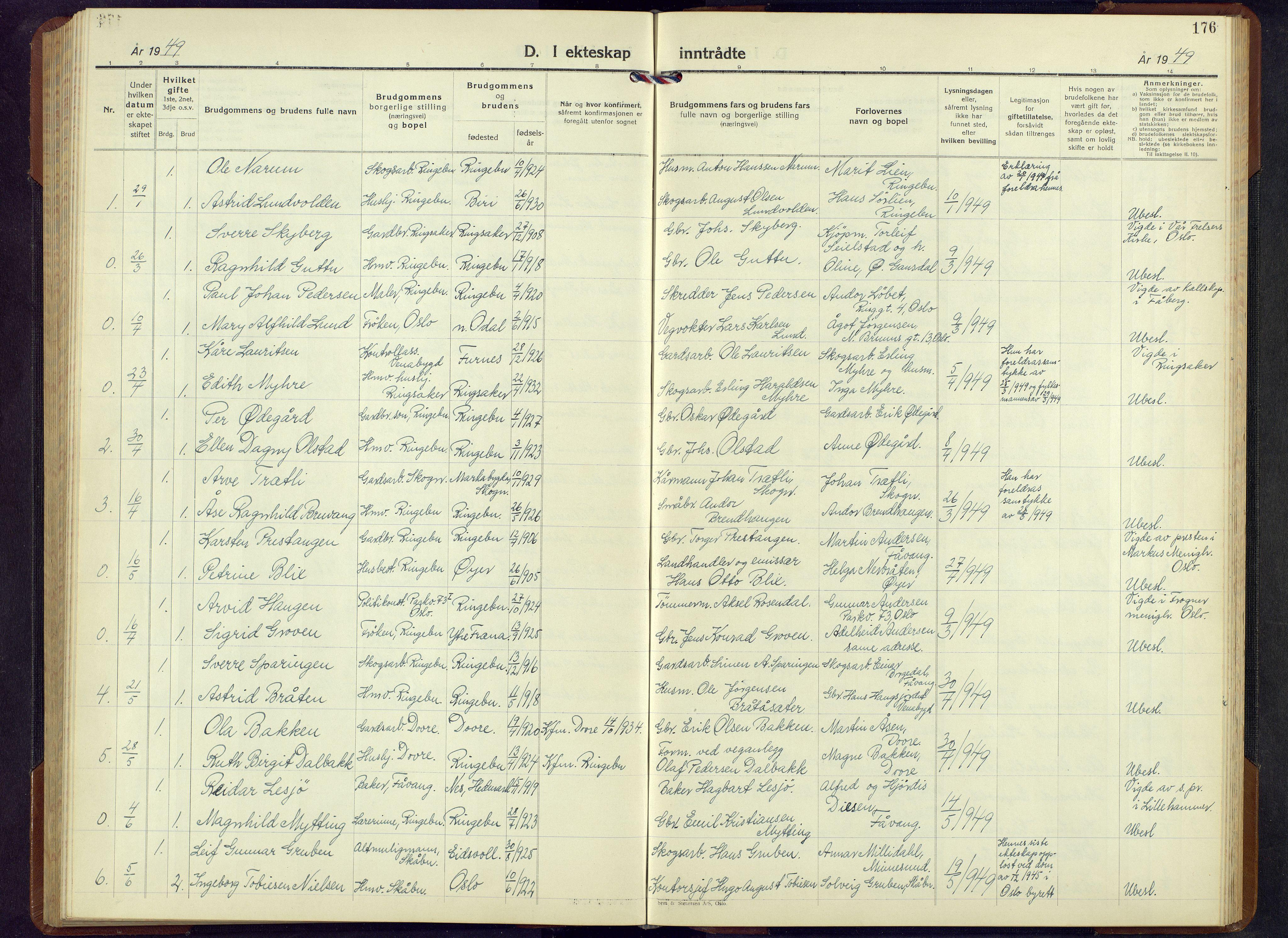 SAH, Ringebu prestekontor, Klokkerbok nr. 13, 1943-1956, s. 176