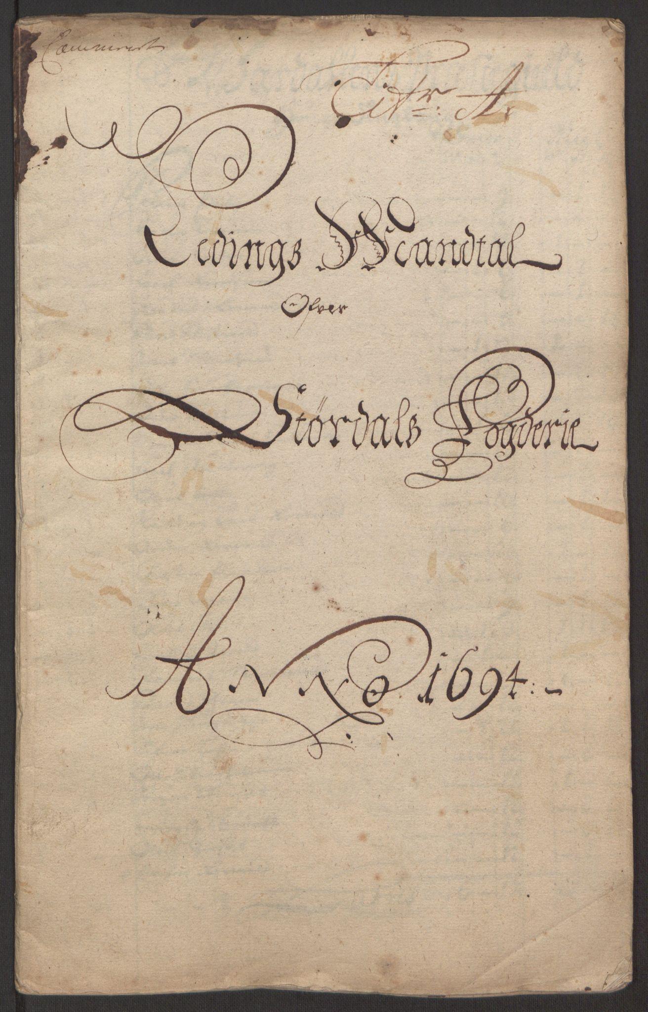 RA, Rentekammeret inntil 1814, Reviderte regnskaper, Fogderegnskap, R62/L4186: Fogderegnskap Stjørdal og Verdal, 1693-1694, s. 164