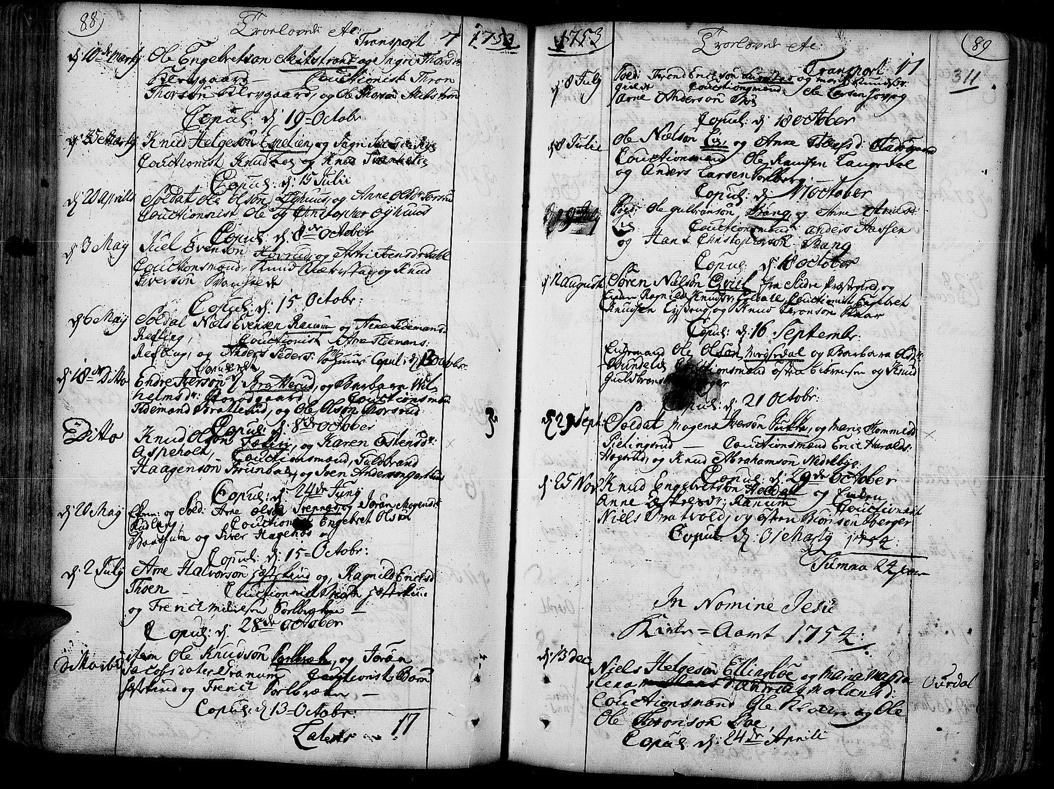 SAH, Aurdal prestekontor, Ministerialbok nr. 4, 1730-1762, s. 88-89