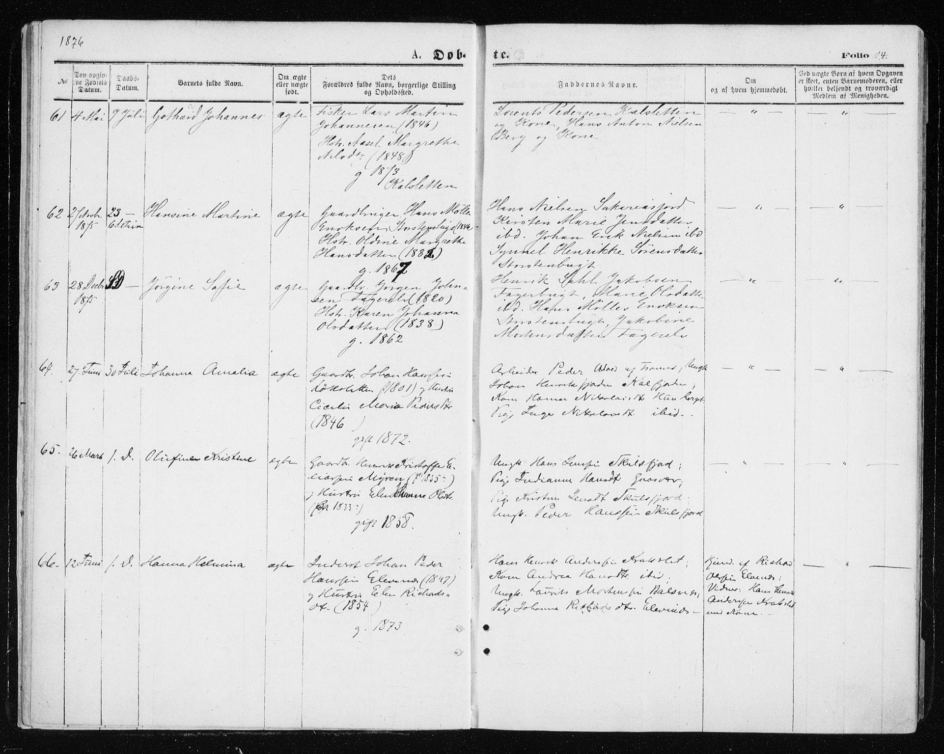 SATØ, Tromsøysund sokneprestkontor, G/Ga/L0003kirke: Ministerialbok nr. 3, 1875-1880, s. 14