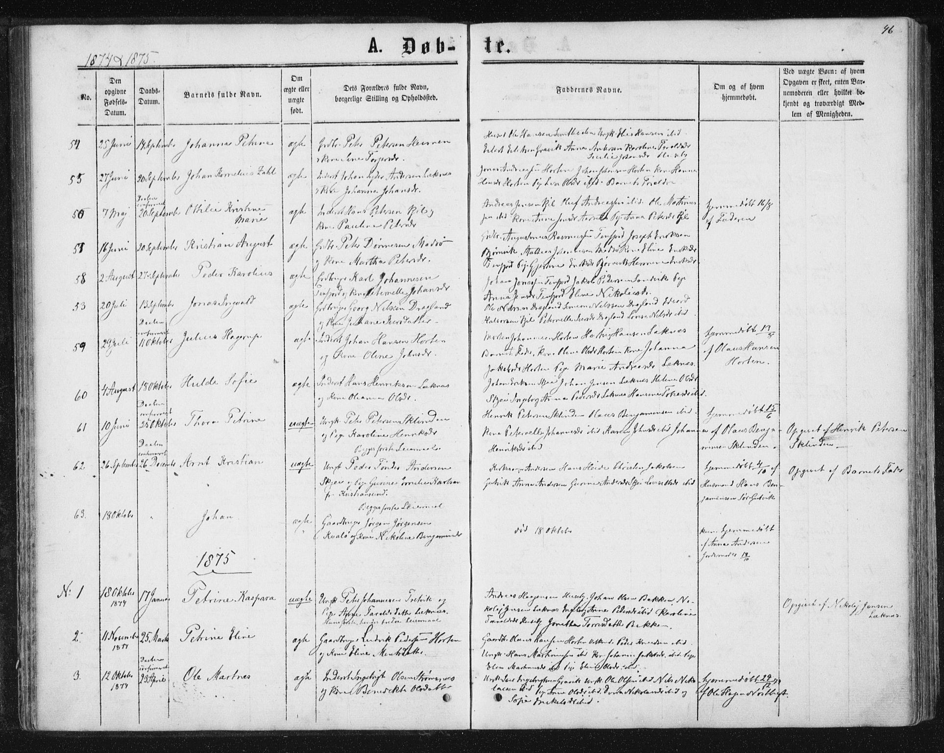 SAT, Ministerialprotokoller, klokkerbøker og fødselsregistre - Nord-Trøndelag, 788/L0696: Ministerialbok nr. 788A03, 1863-1877, s. 46