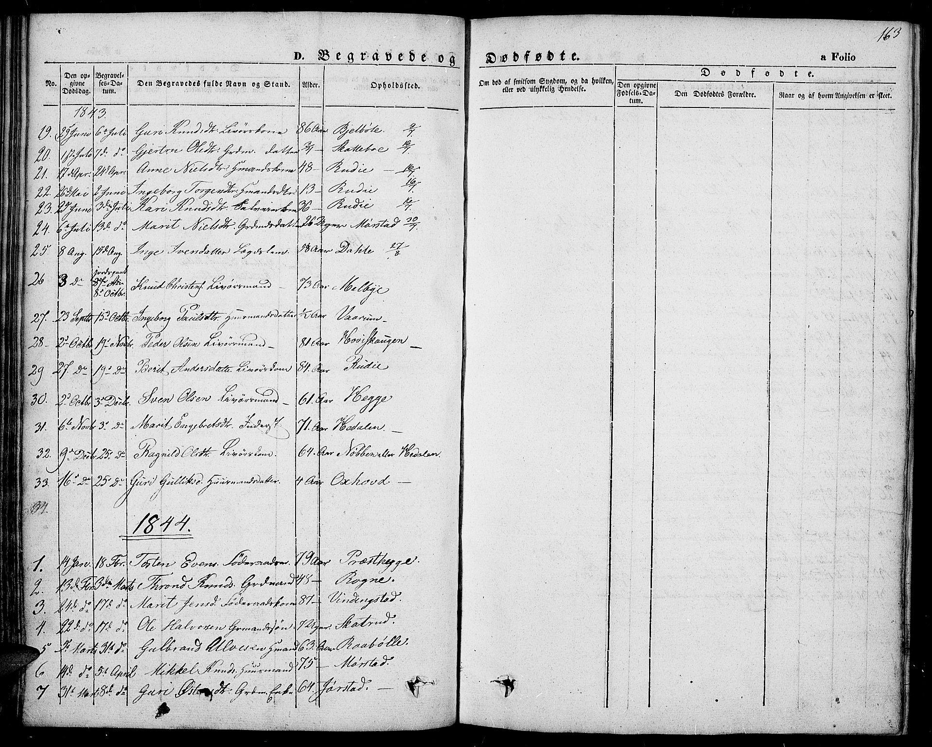 SAH, Slidre prestekontor, Ministerialbok nr. 4, 1831-1848, s. 163